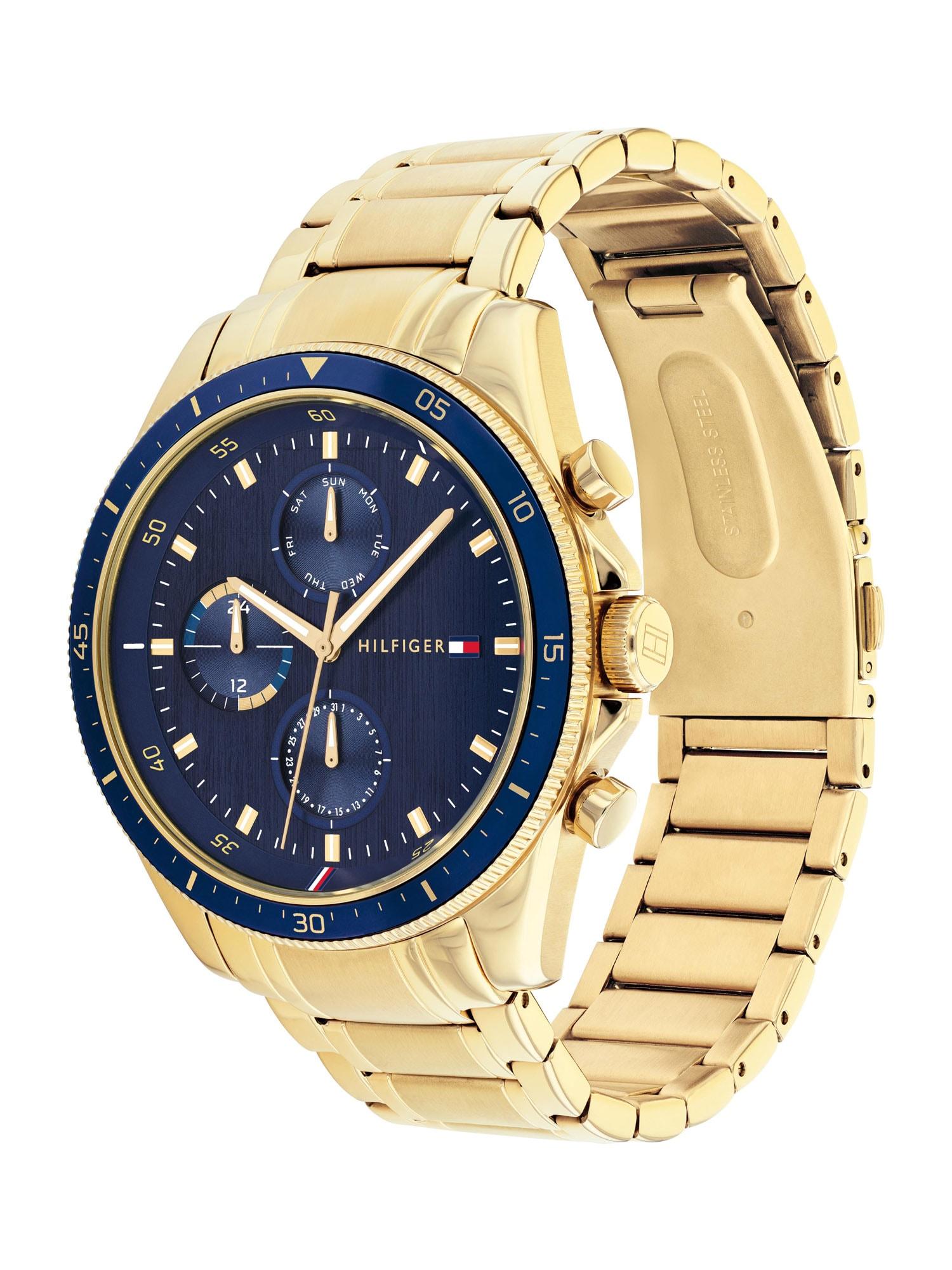 TOMMY HILFIGER Analoginis (įprasto dizaino) laikrodis auksas / tamsiai mėlyna