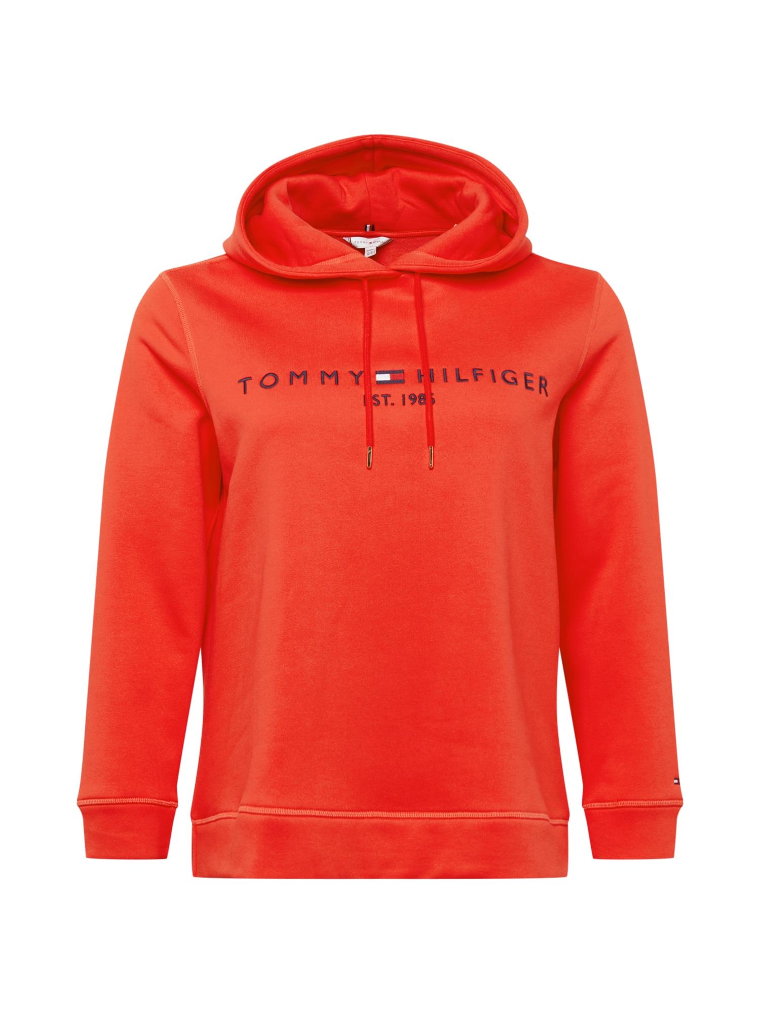 Tommy Hilfiger Curve Megztinis be užsegimo šviesiai raudona / tamsiai mėlyna / balta