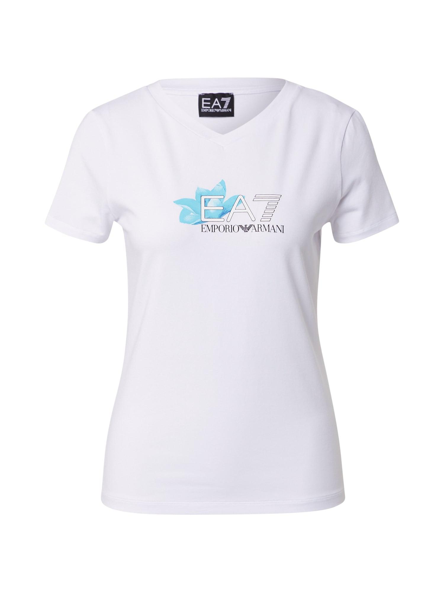 EA7 Emporio Armani Marškinėliai balkšva / turkio spalva / juoda
