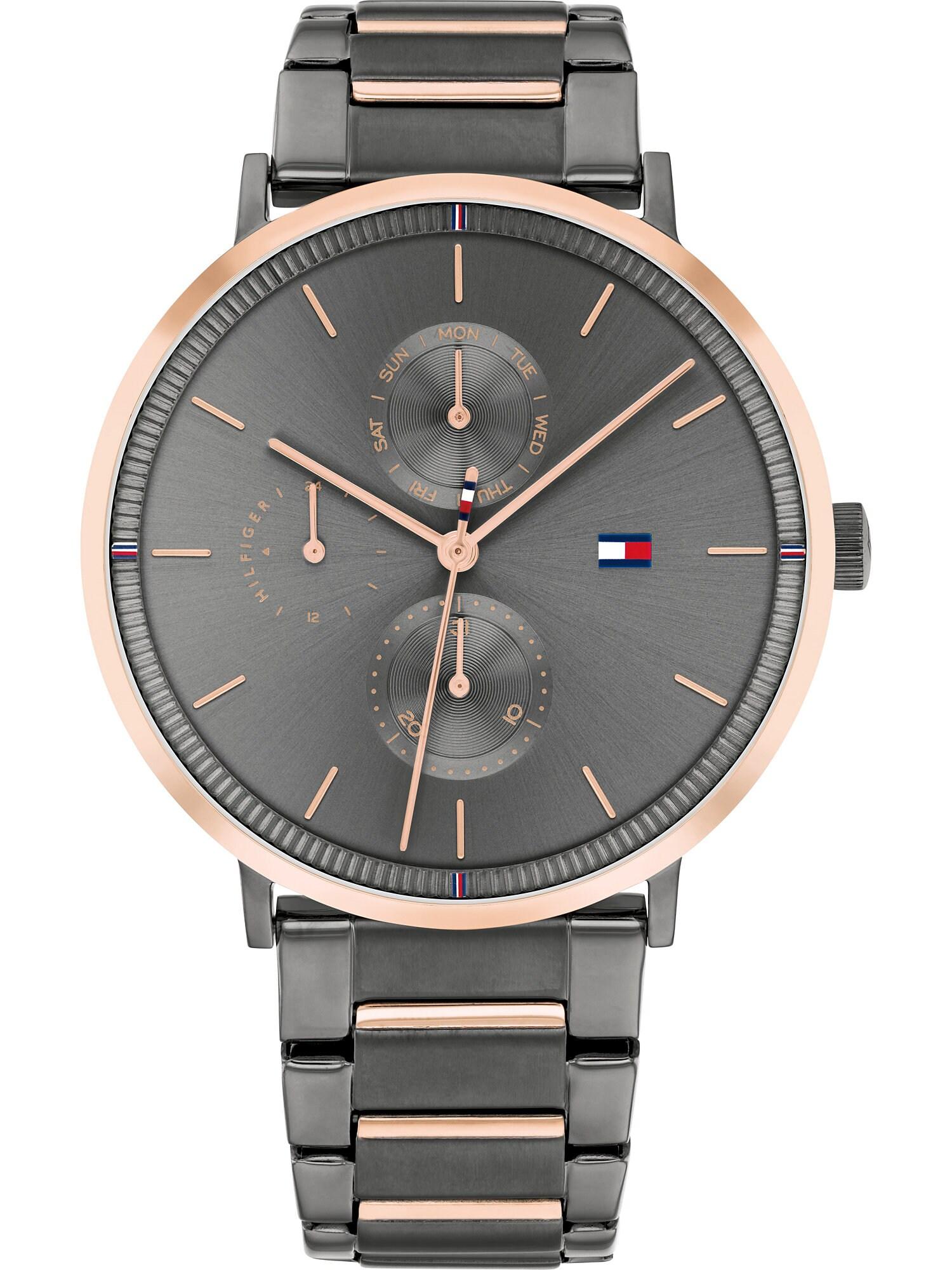 TOMMY HILFIGER Analoginis (įprasto dizaino) laikrodis antracito spalva / rožinio aukso spalva