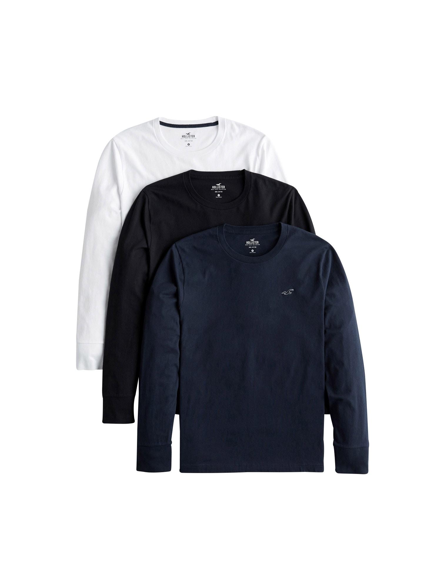 HOLLISTER Marškinėliai balta / mėlyna / juoda
