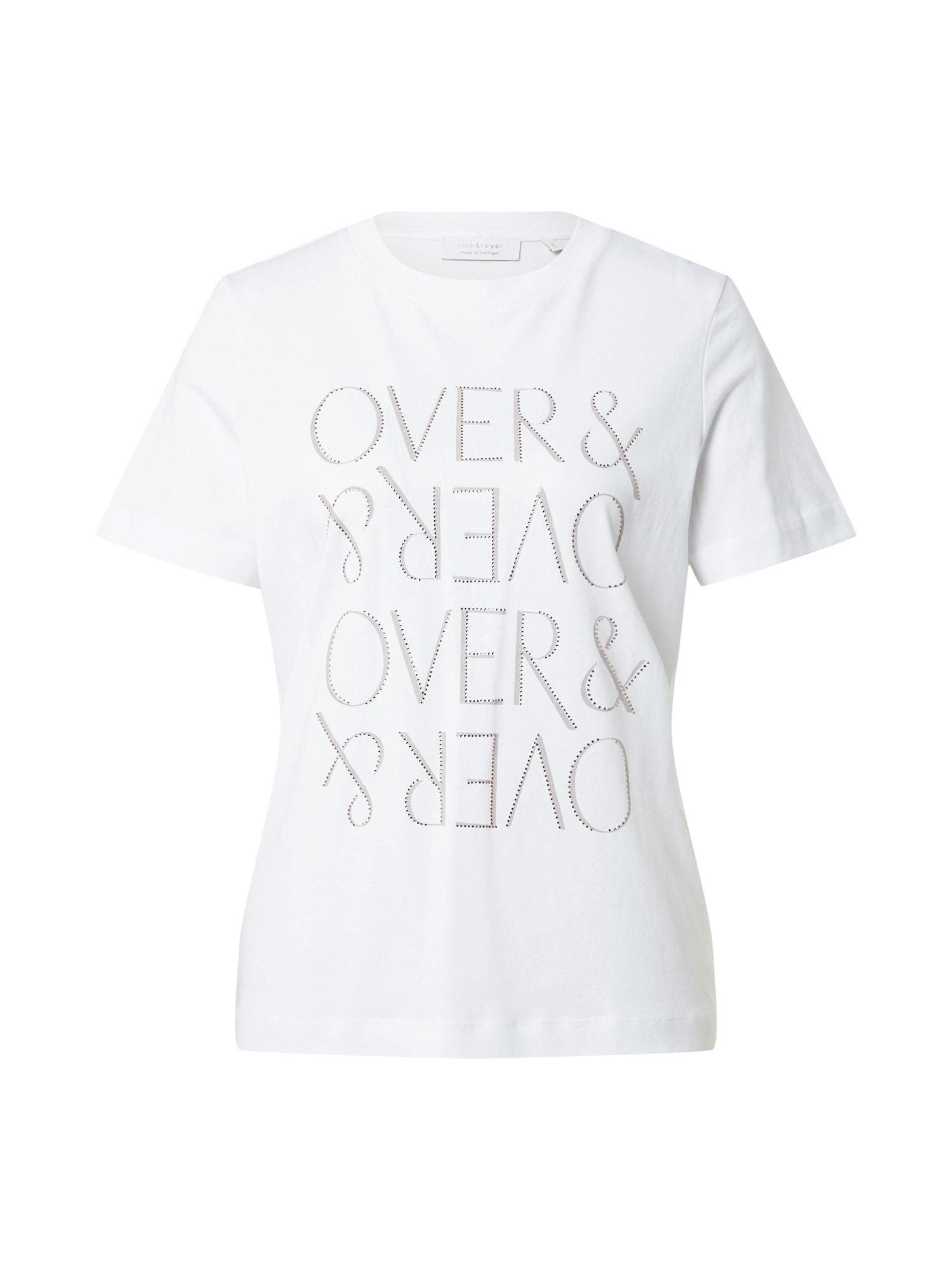Rich & Royal Marškinėliai balkšva / pilka / sidabrinė