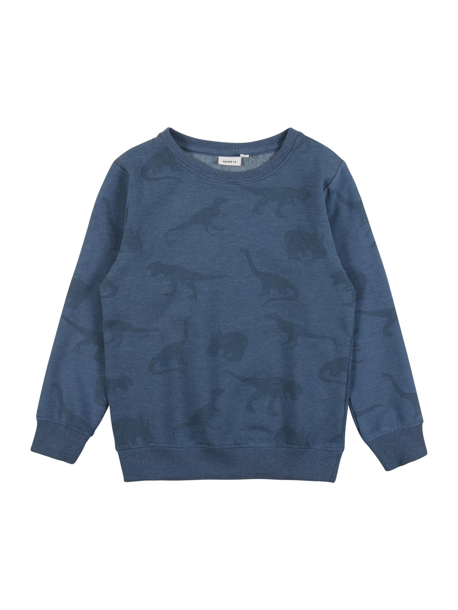 NAME IT Megztinis be užsegimo mėlyna / melsvai pilka