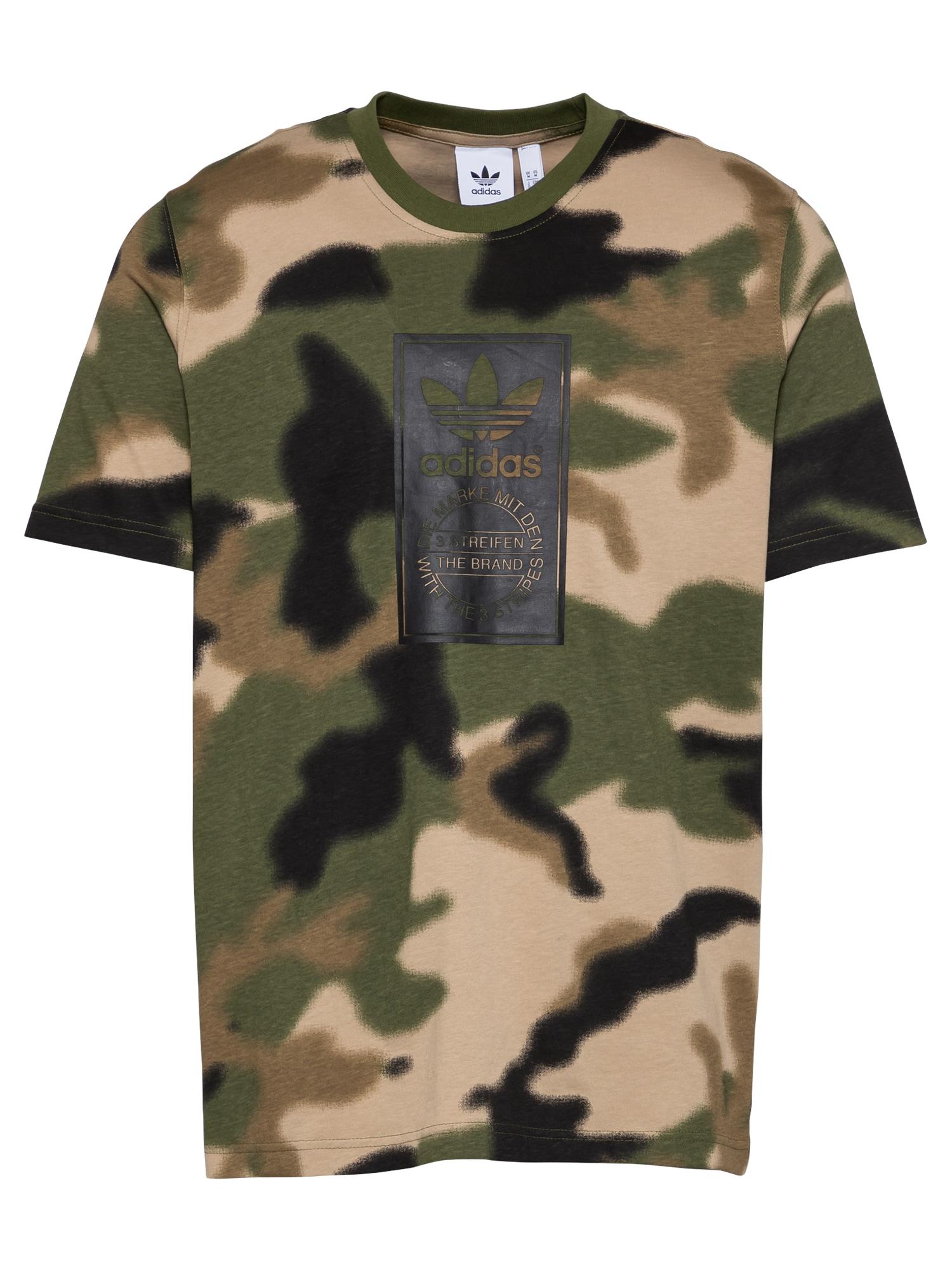 ADIDAS ORIGINALS Marškinėliai žalia / smėlio / juoda