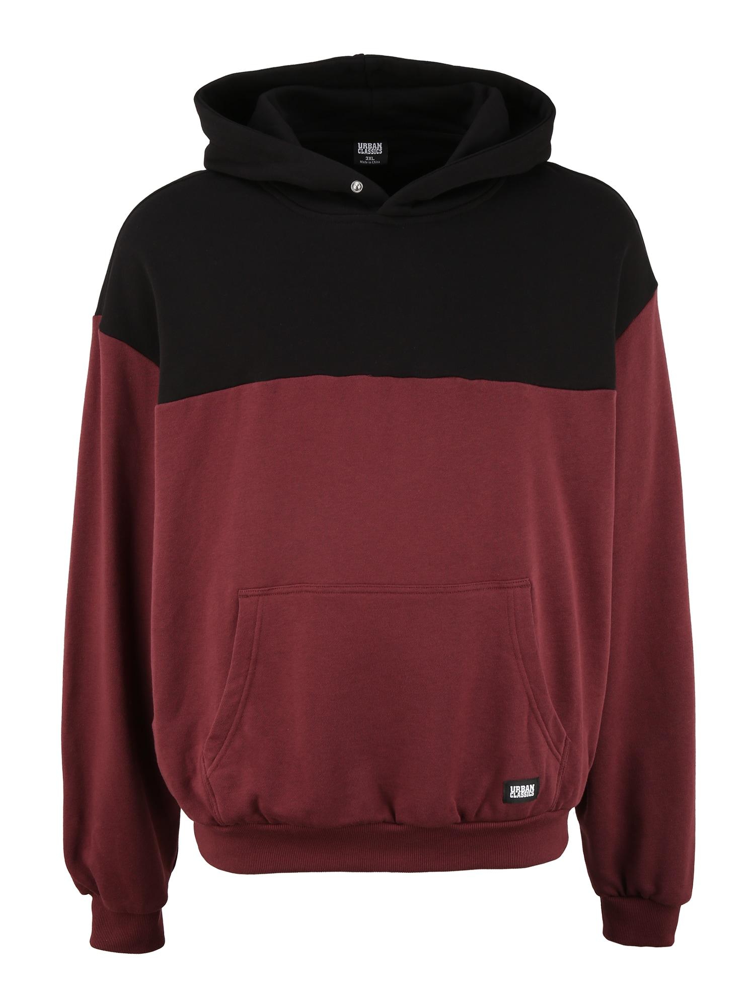 Urban Classics Plus Size Megztinis be užsegimo kraujo spalva / juoda