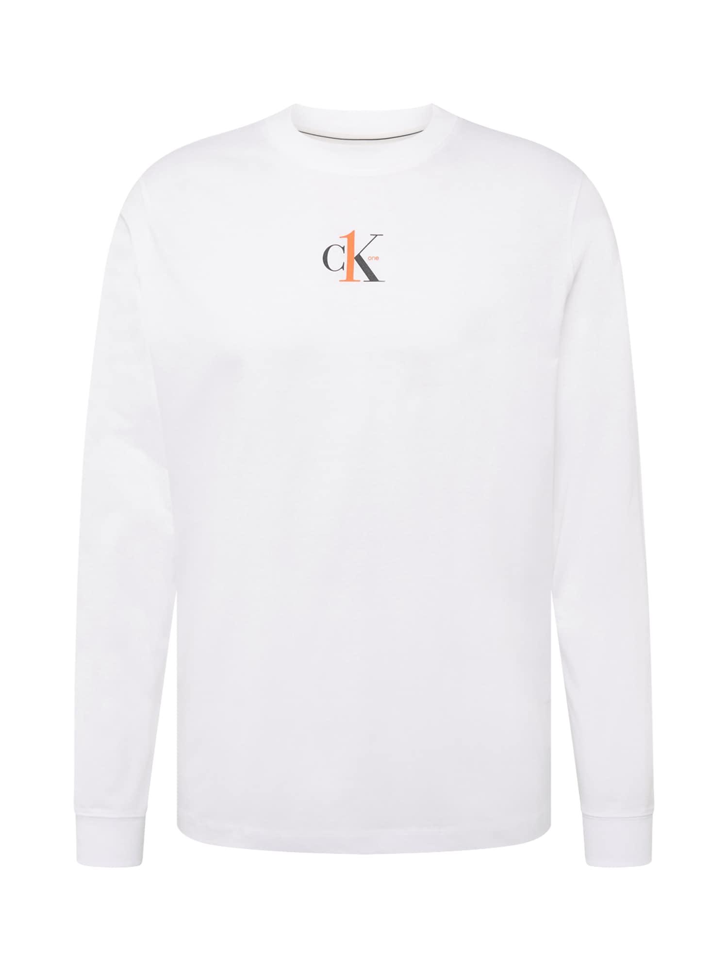 Calvin Klein Jeans Mikina  bílá / oranžová / černá