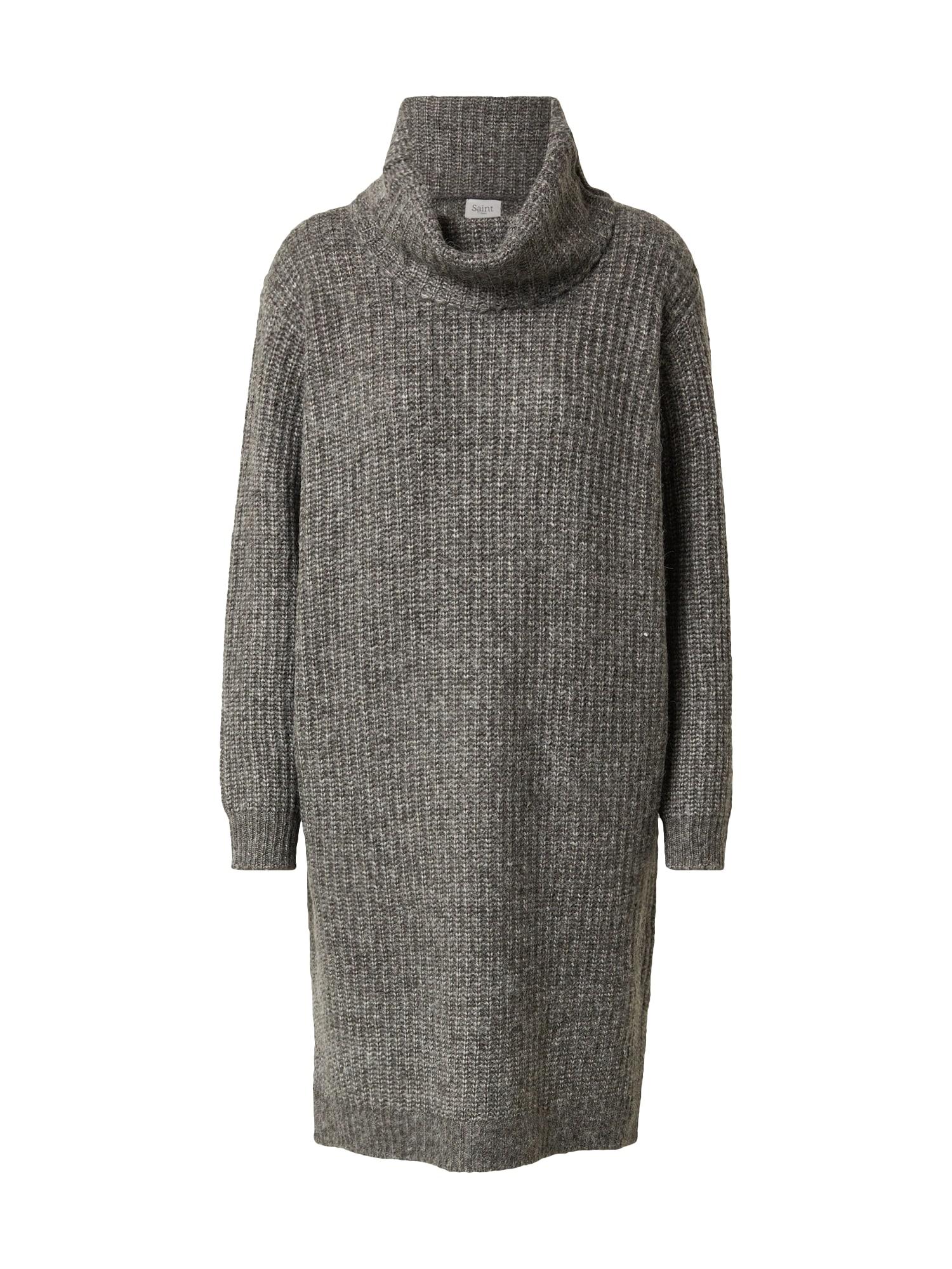 SAINT TROPEZ Úpletové šaty 'Ivonna'  šedý melír