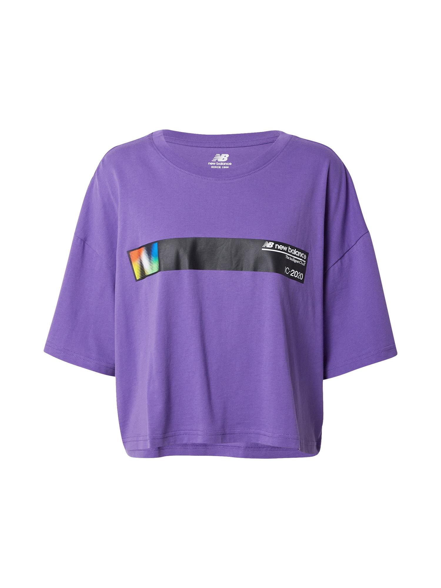 new balance Marškinėliai tamsiai violetinė / mišrios spalvos