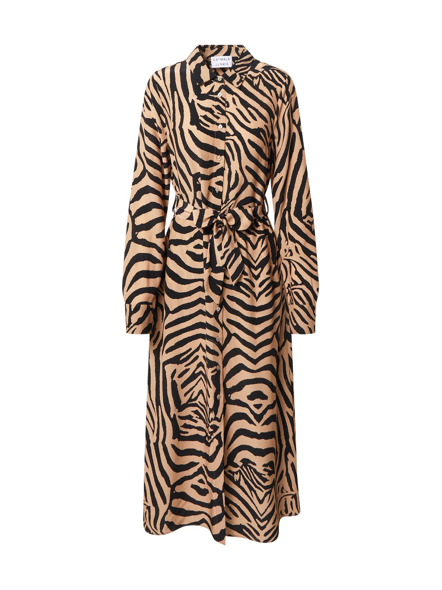 CATWALK JUNKIE Palaidinės tipo suknelė juoda / smėlio