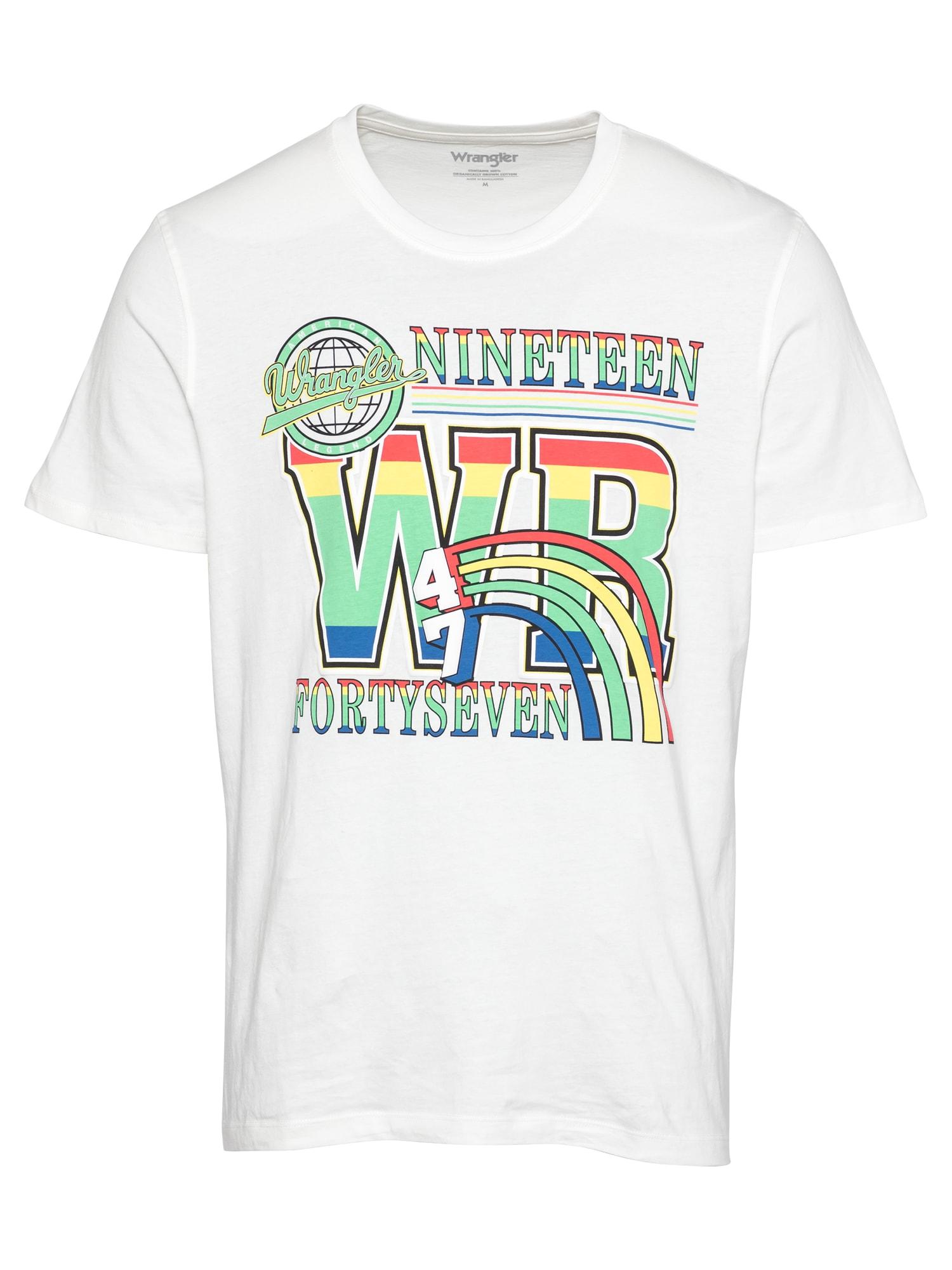 WRANGLER Marškinėliai balkšva / šviesiai žalia / melionų spalva / geltona / dangaus žydra