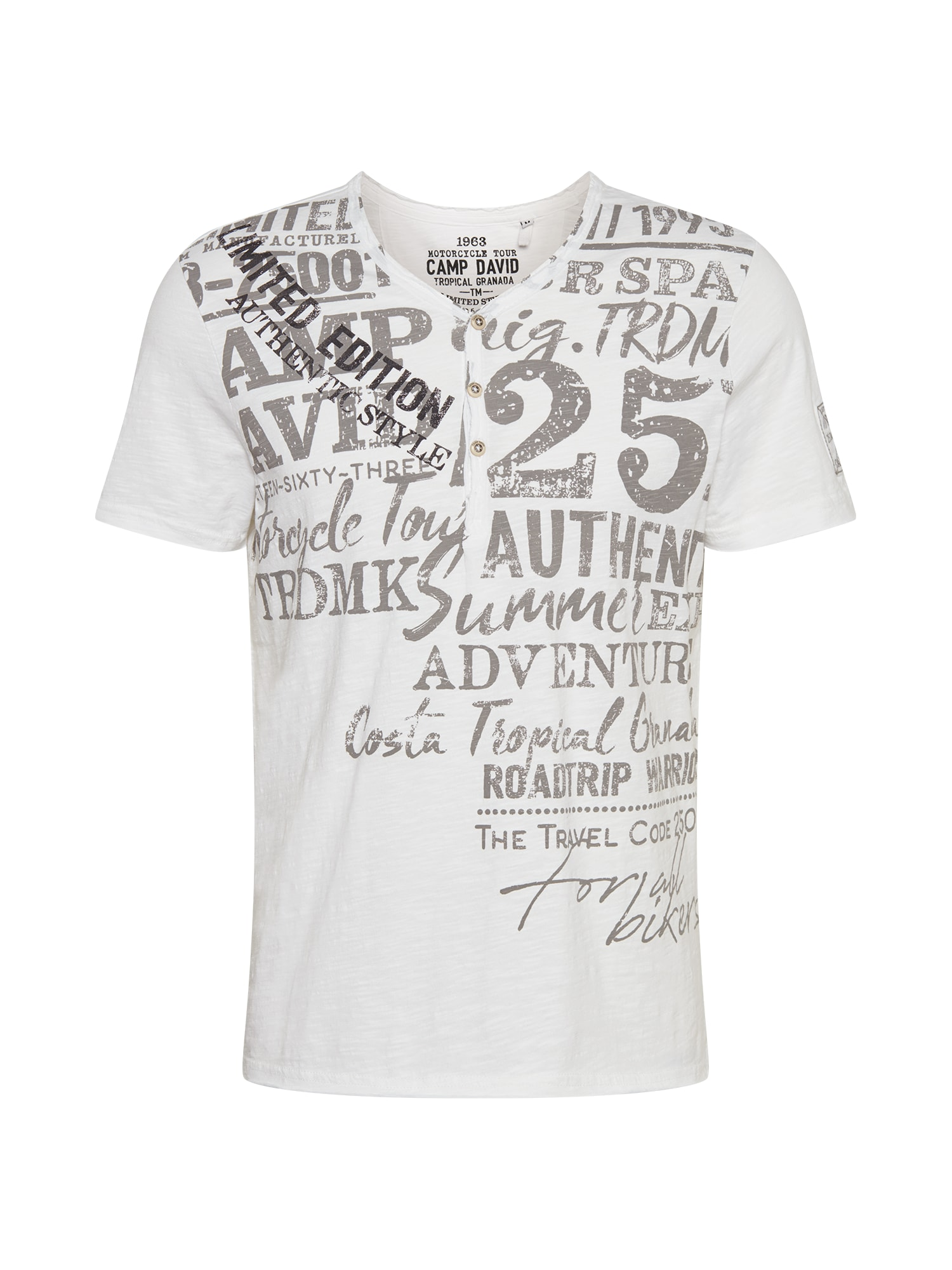 CAMP DAVID Marškinėliai balta / dūmų pilka / juoda