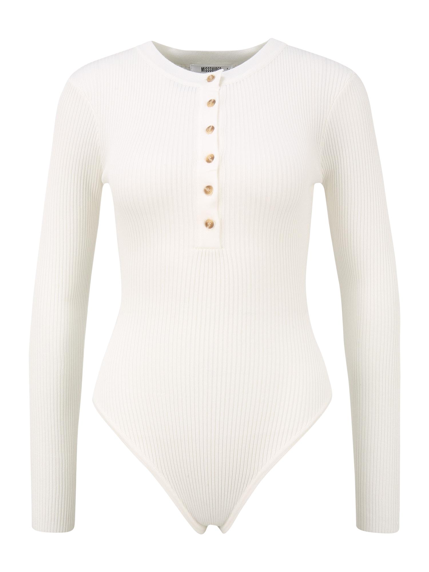 Missguided Petite Marškinėliai-glaustinukė balta