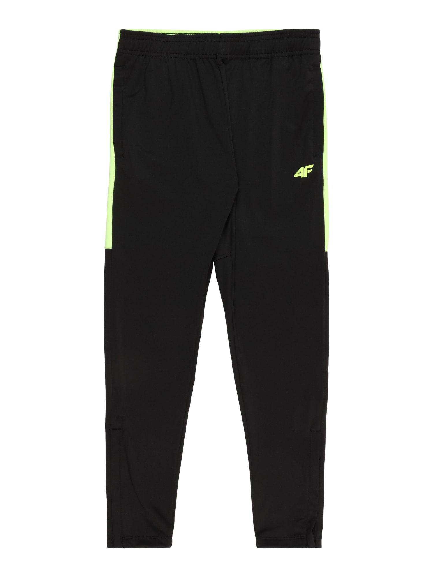 4F Sportinės kelnės juoda / neoninė žalia