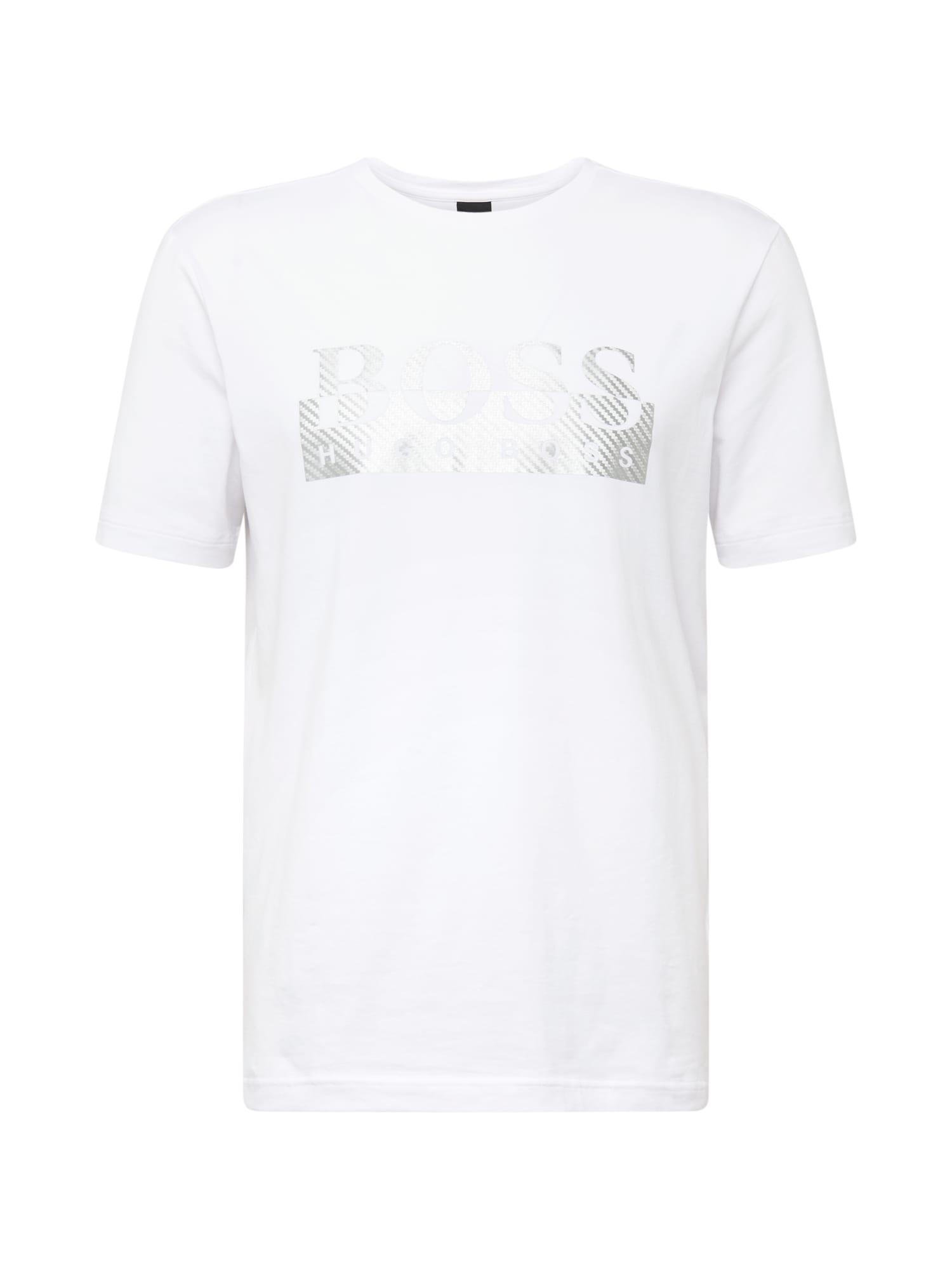 BOSS ATHLEISURE Marškinėliai balta / sidabrinė