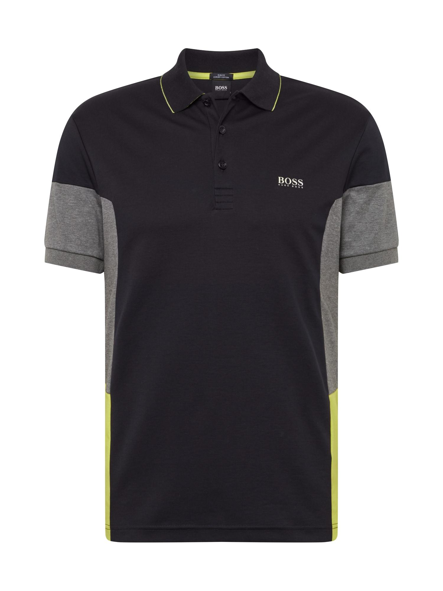 BOSS ATHLEISURE Tričko 'Paule 1'  černá / šedá / žlutá