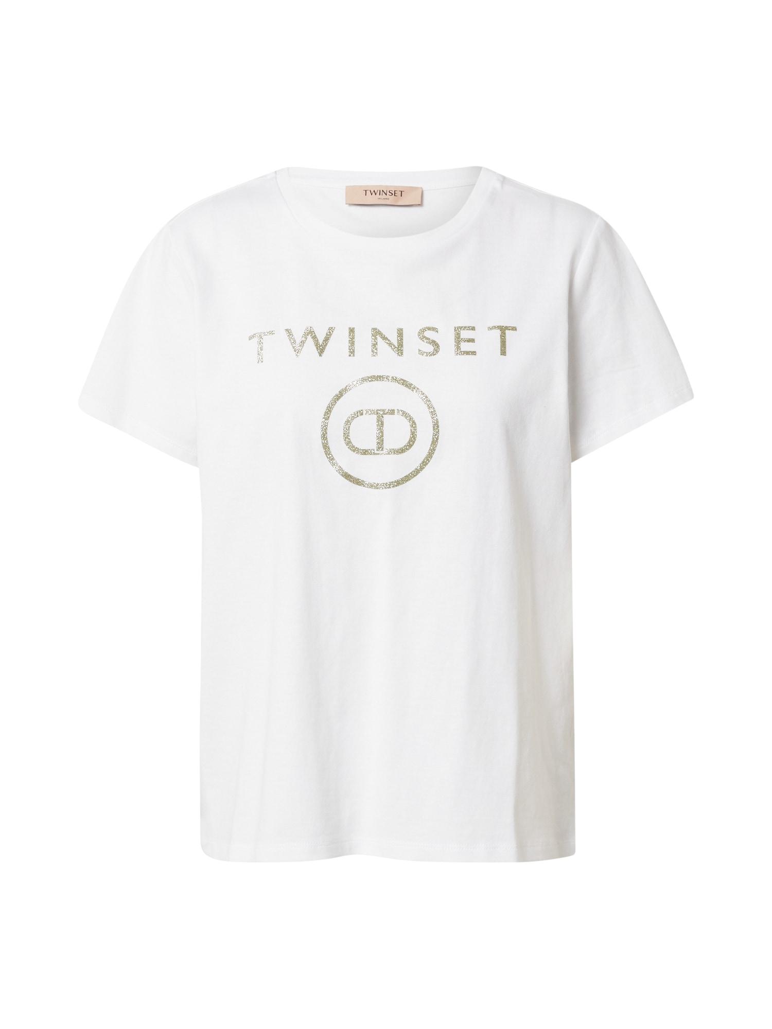 Twinset Marškinėliai balta / auksas