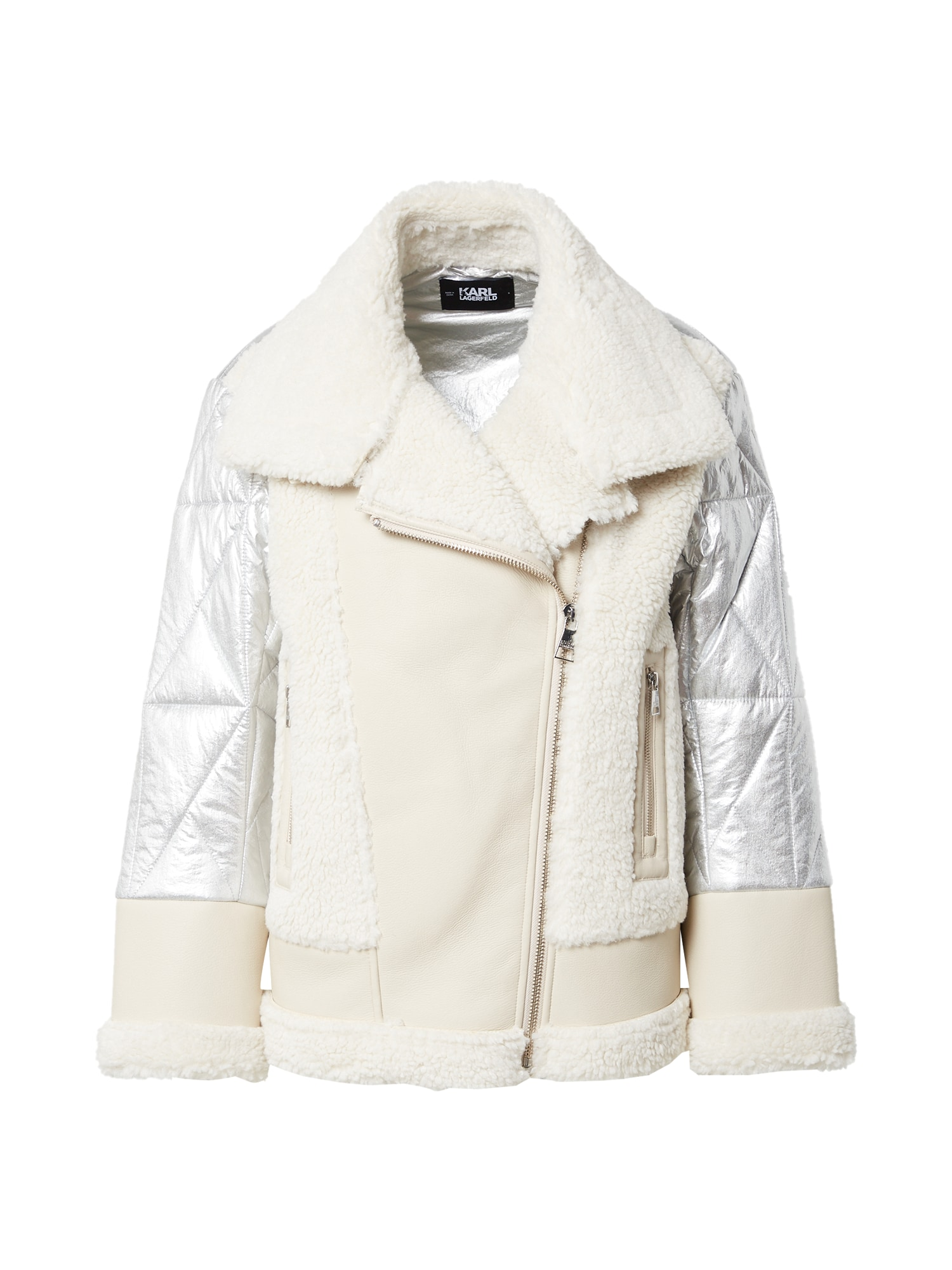 Karl Lagerfeld Žieminė striukė sidabro pilka / kremo