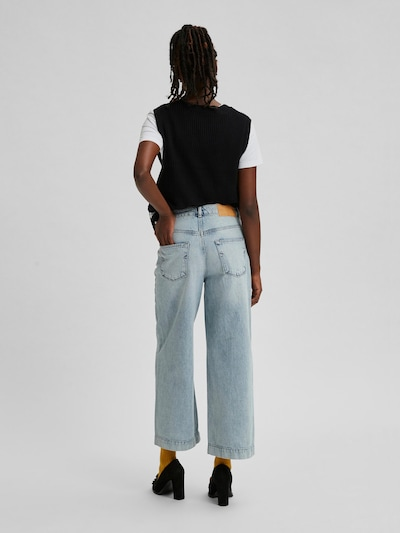 Selected Femme Thea weite Fransenjeans mit hoher Taille