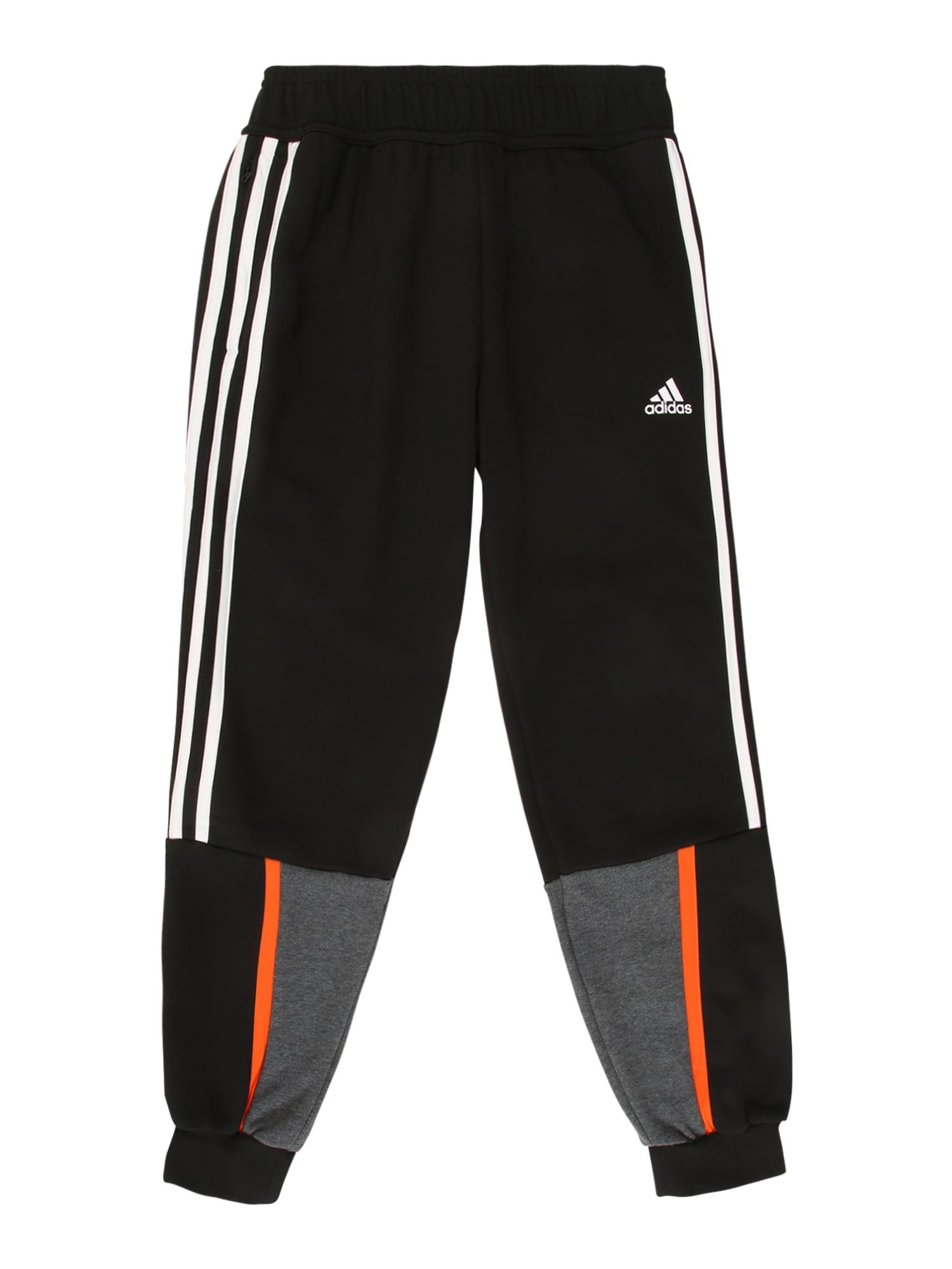 ADIDAS PERFORMANCE Sportinės kelnės 'BOLD' juoda / balta / tamsiai pilka / oranžinė