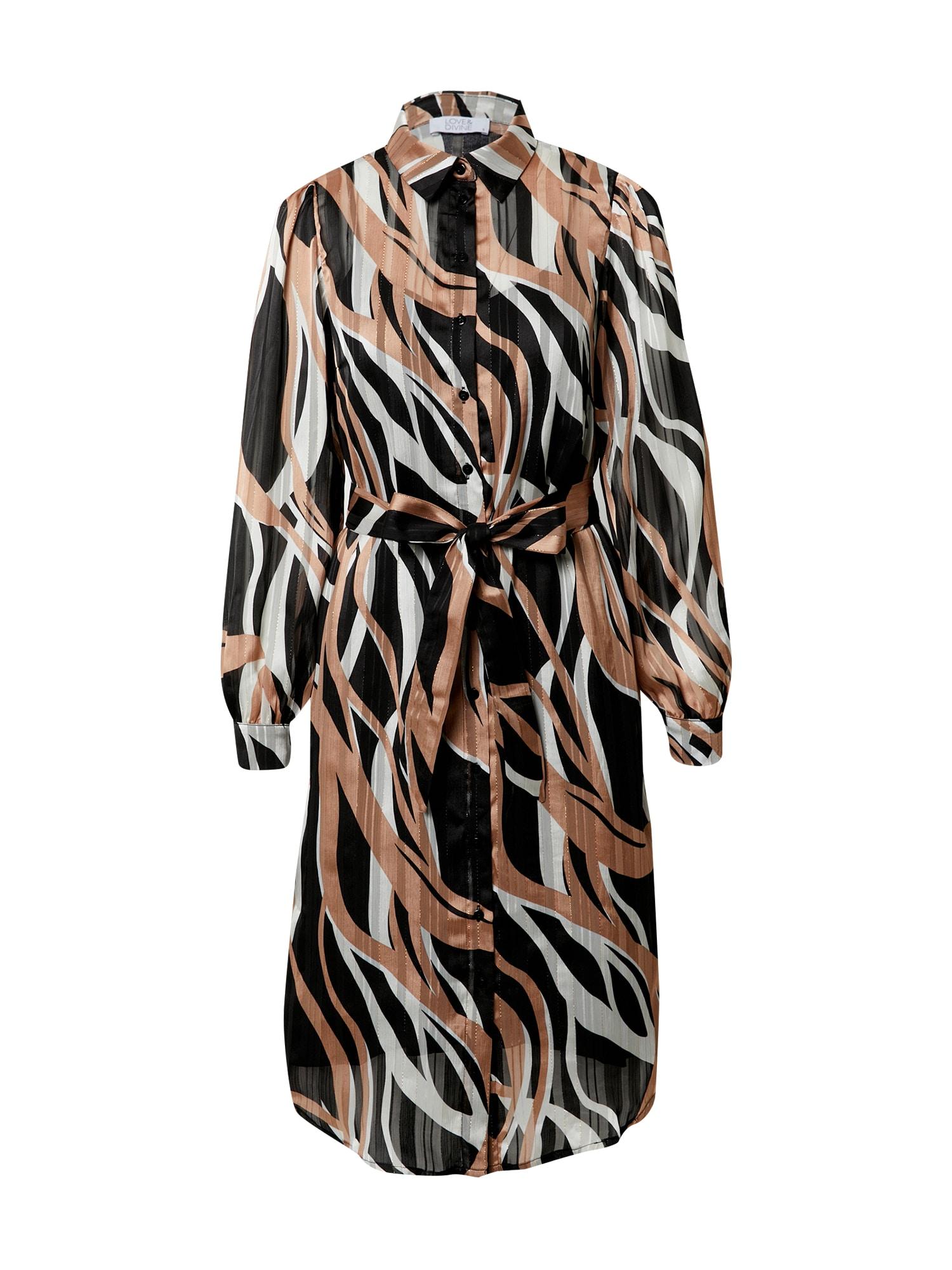 Love & Divine Palaidinės tipo suknelė juoda / gelsvai pilka spalva / balta