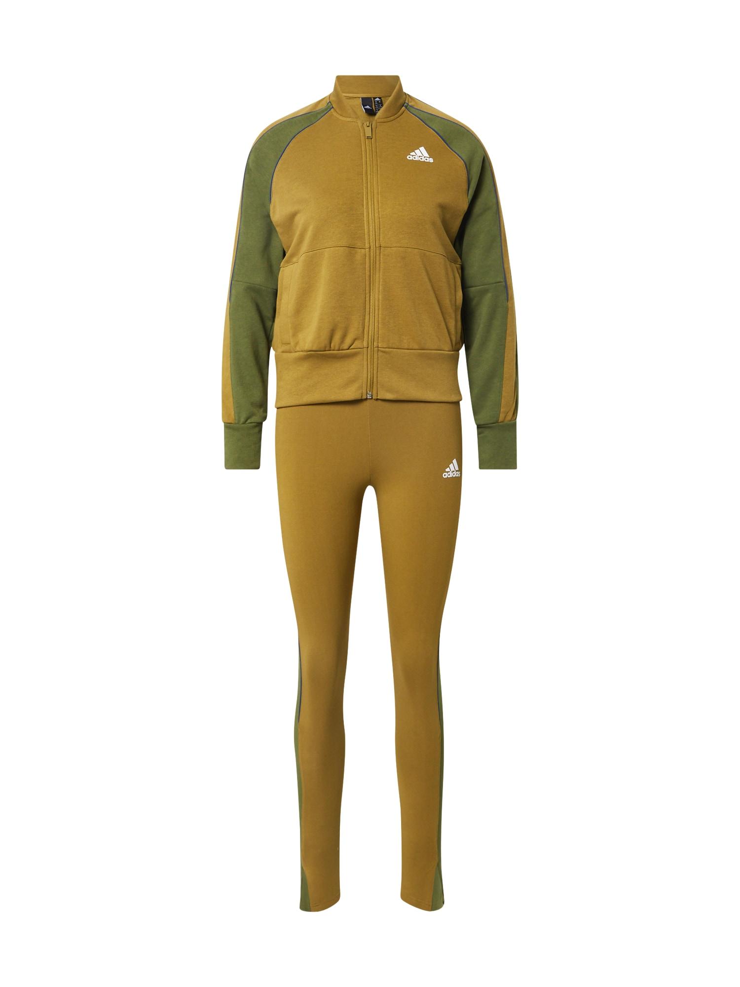 ADIDAS PERFORMANCE Treniruočių kostiumas alyvuogių spalva / balta / mėlyna / rusvai žalia