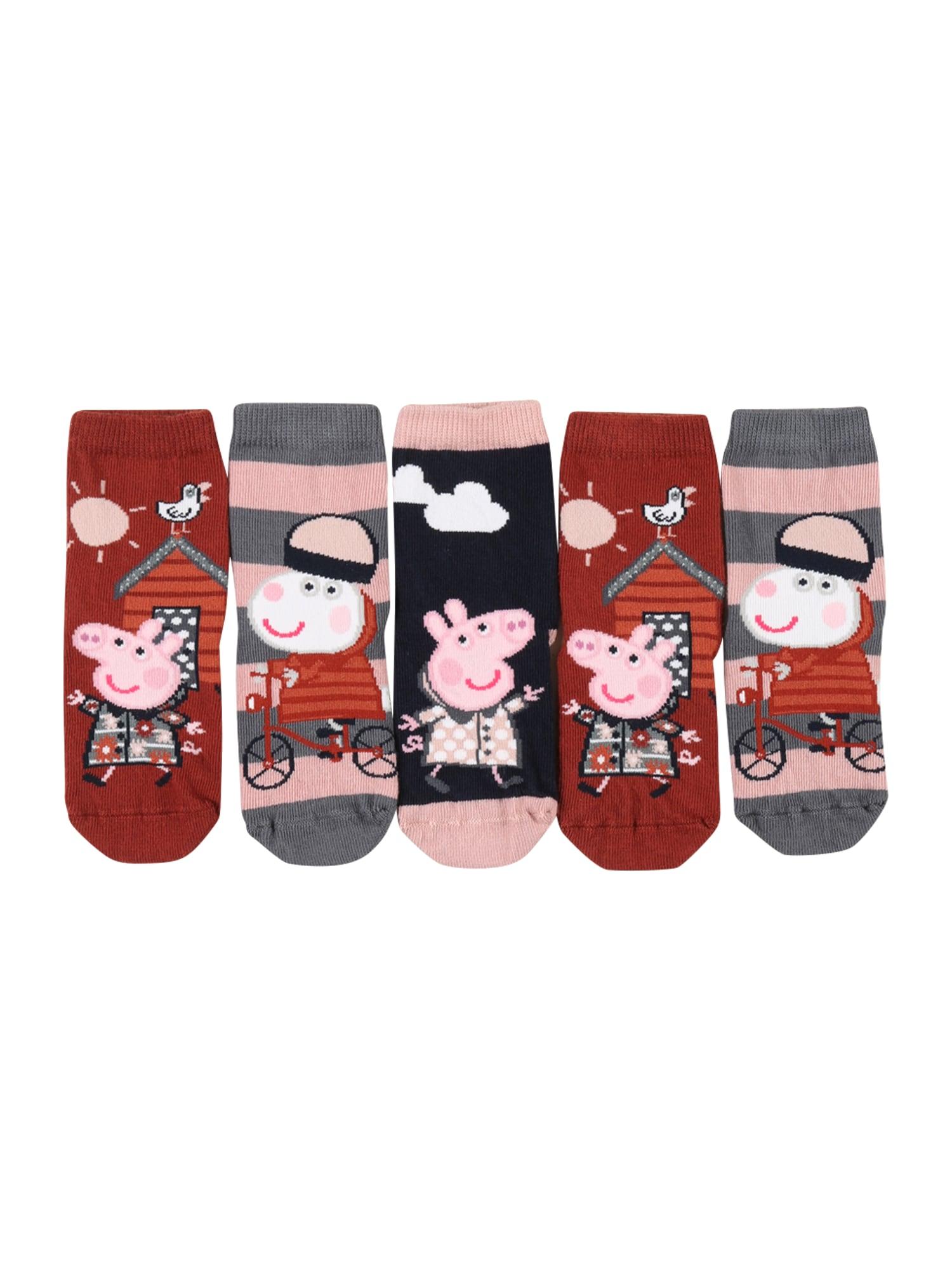 NAME IT Kojinės 'Peppa Pig Sunri' tamsiai raudona / šviesiai rožinė / tamsiai mėlyna / sidabro pilka / balta