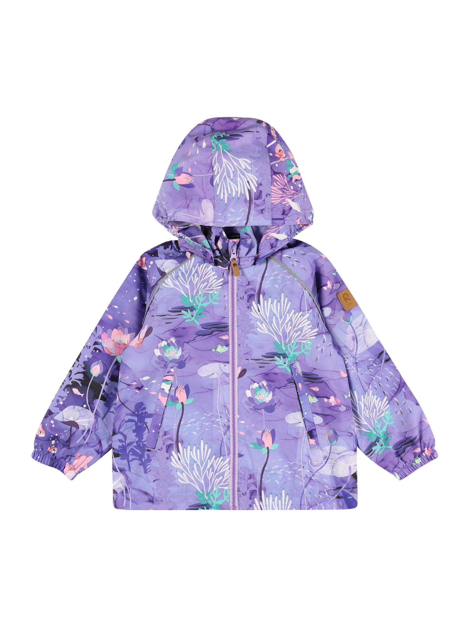 Reima Demisezoninė striukė šviesiai violetinė / tamsiai violetinė / nefrito spalva / balta / rožių spalva
