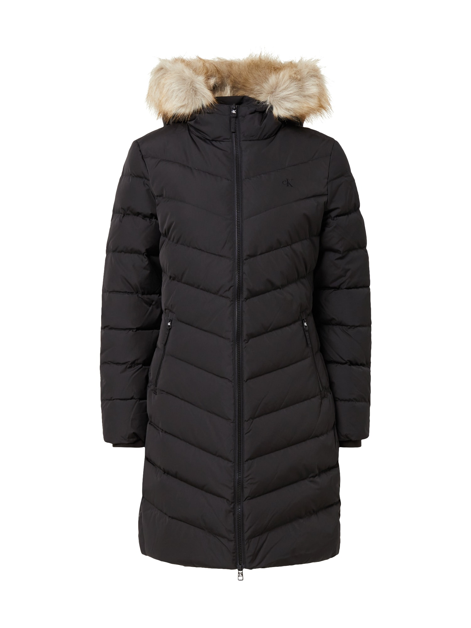 Calvin Klein Jeans Žieminis paltas juoda / smėlio