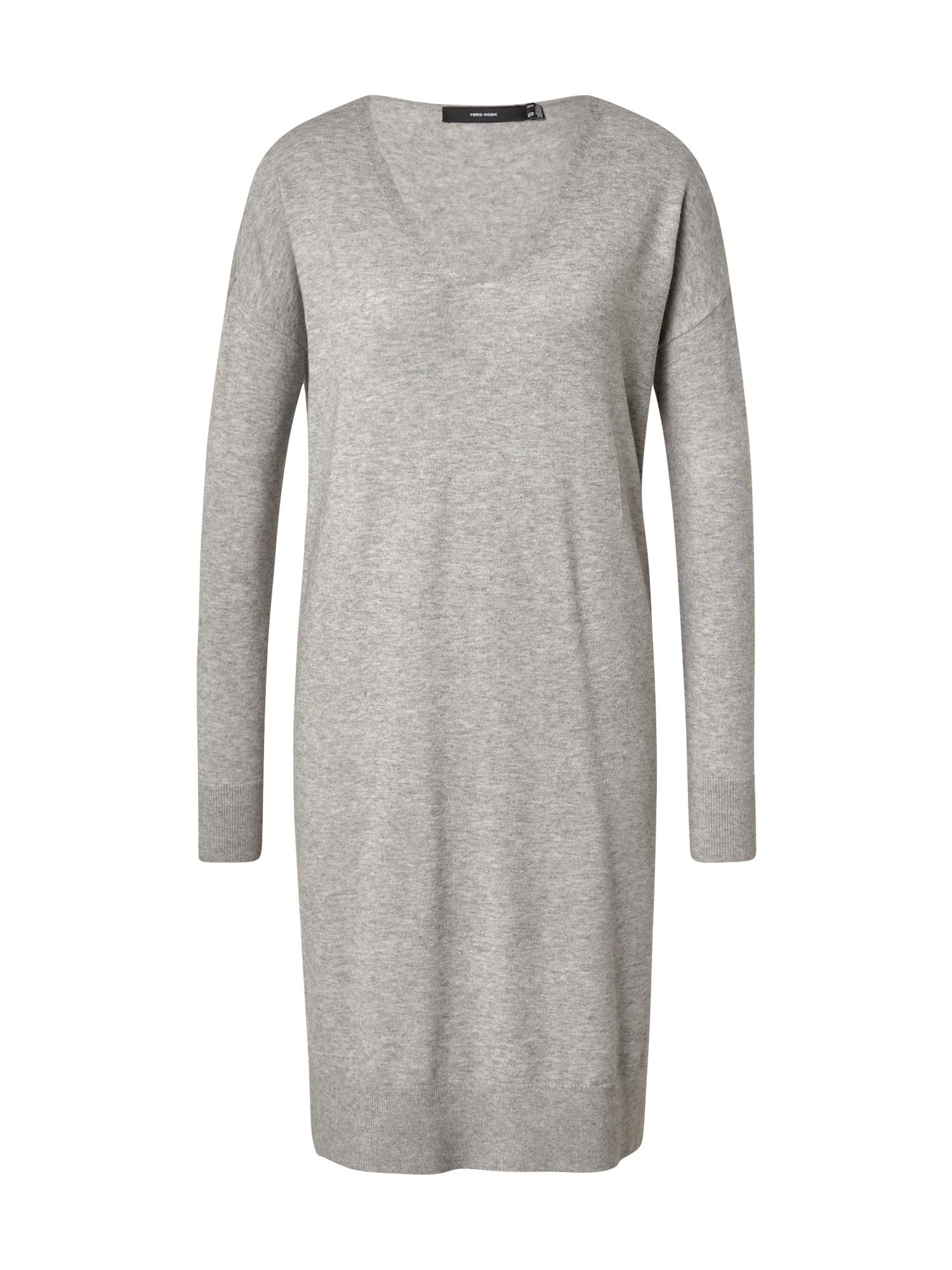 VERO MODA Úpletové šaty 'Holly'  šedý melír