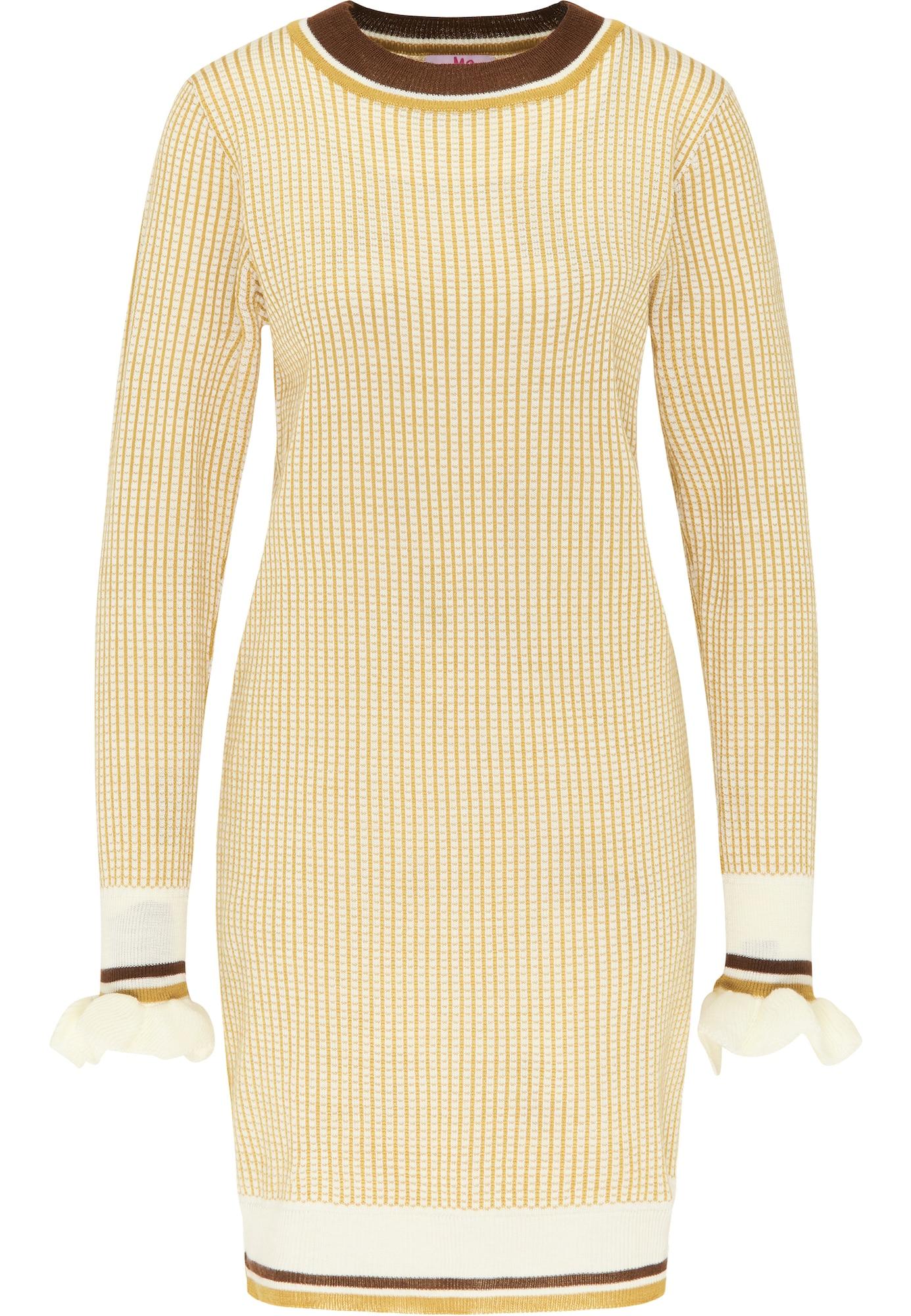 MYMO Megzta suknelė geltona / balta / ruda