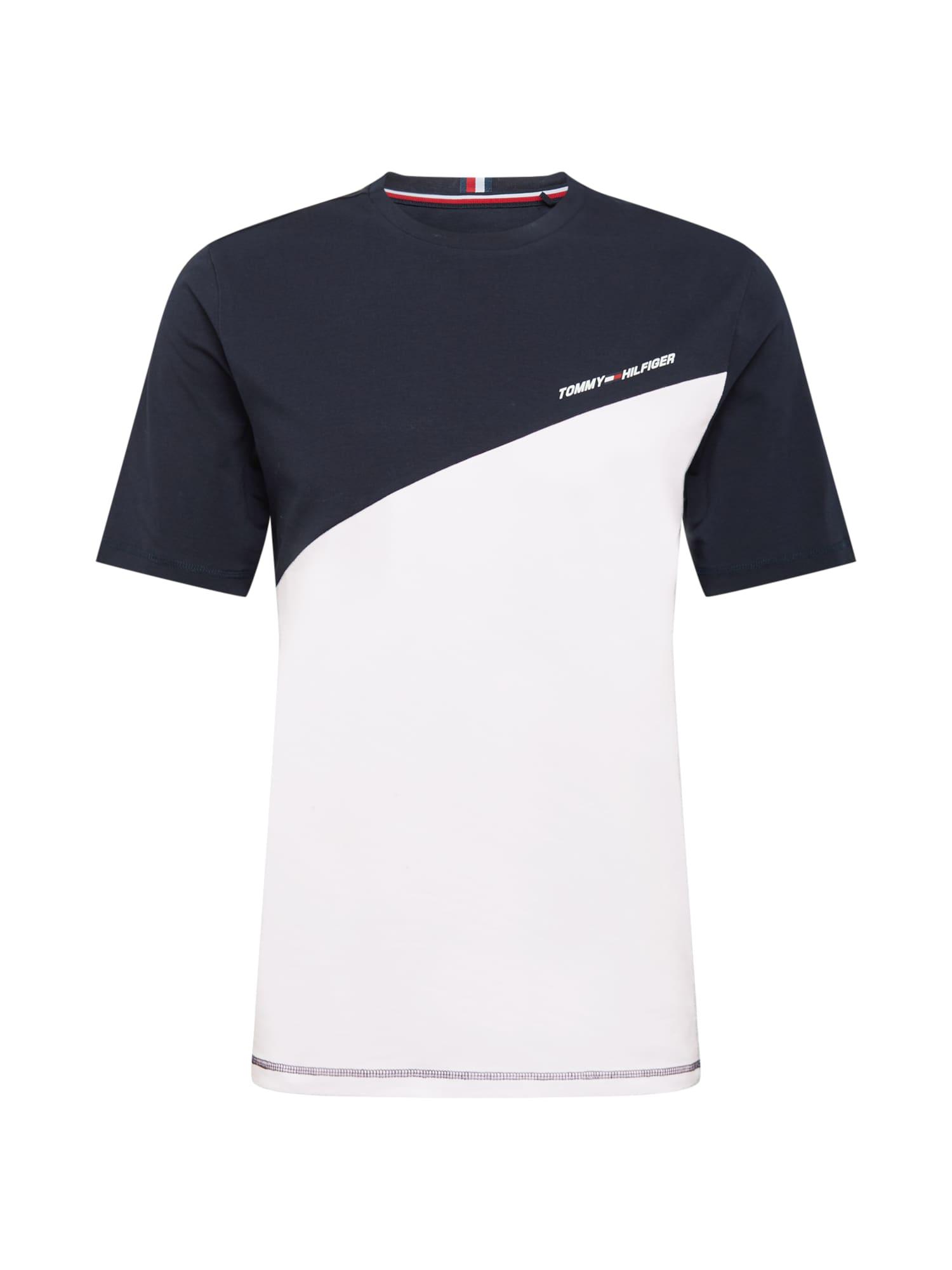 Tommy Sport Sportiniai marškinėliai balta / nakties mėlyna / šviesiai raudona