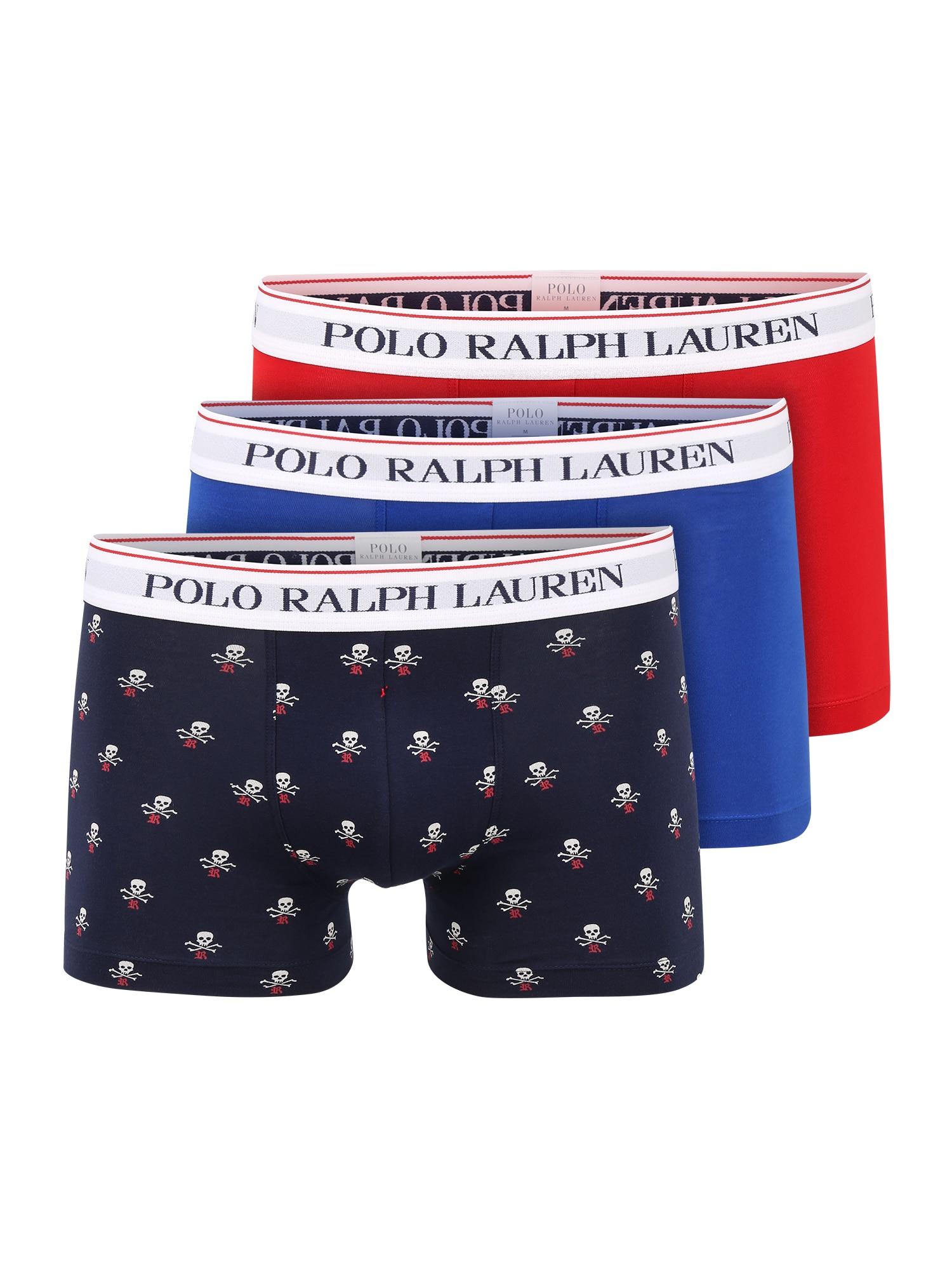 """POLO RALPH LAUREN Boxer trumpikės sodri mėlyna (""""karališka"""") / tamsiai mėlyna / balta / pastelinė raudona / ugnies raudona"""