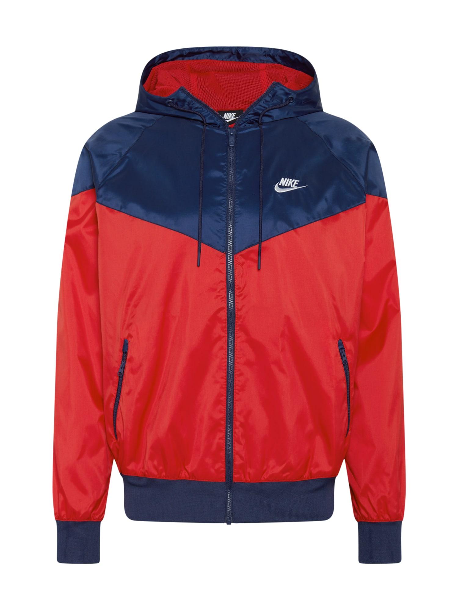 Nike Sportswear Demisezoninė striukė tamsiai mėlyna / raudona / balta