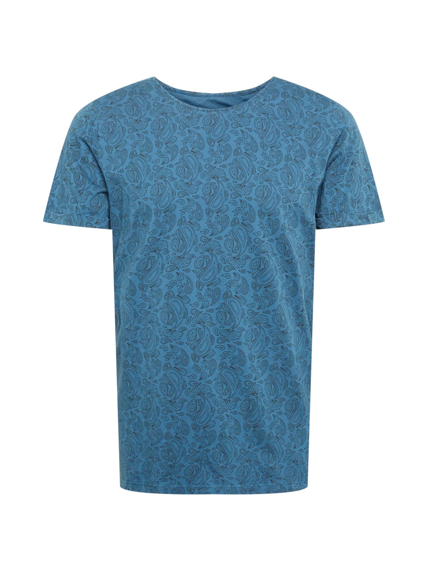 bleed clothing Marškinėliai dangaus žydra / juoda