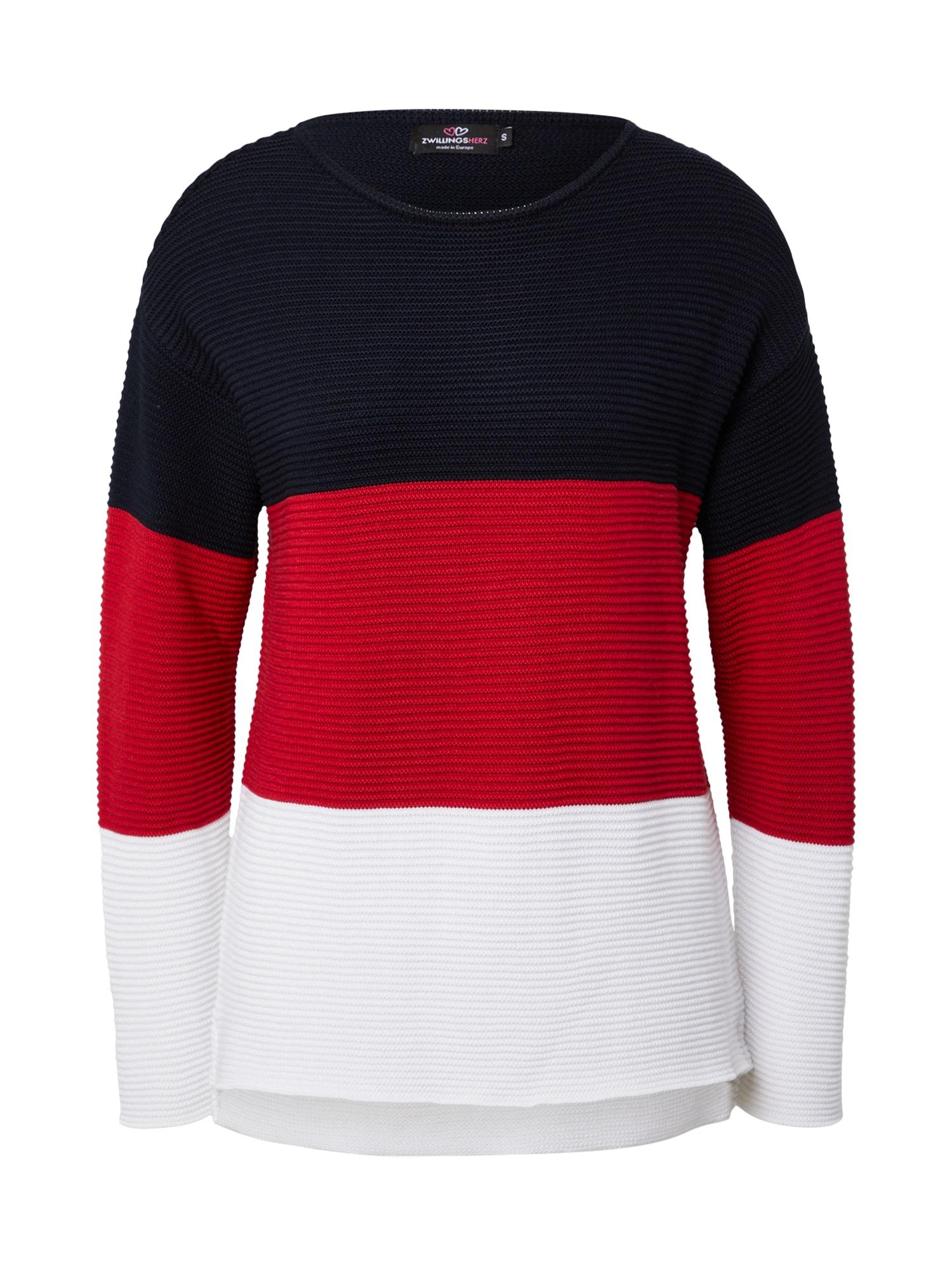 Zwillingsherz Megztinis balta / nakties mėlyna / raudona