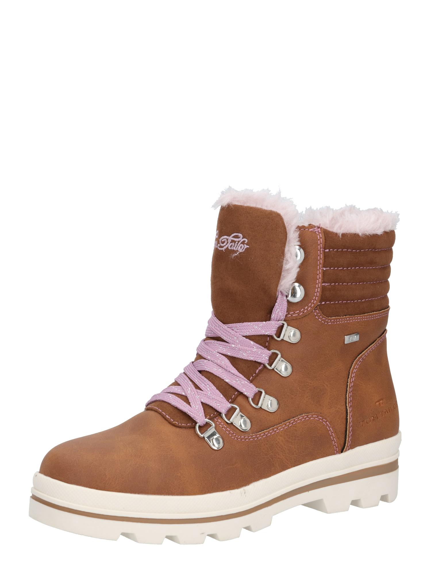 TOM TAILOR Sniego batai šviesiai ruda / pastelinė rožinė / pastelinė violetinė