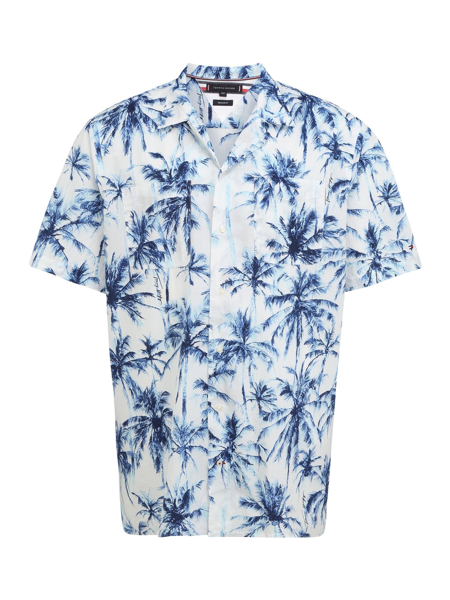 Tommy Hilfiger Big & Tall Marškiniai balta / mėlyna / šviesiai mėlyna