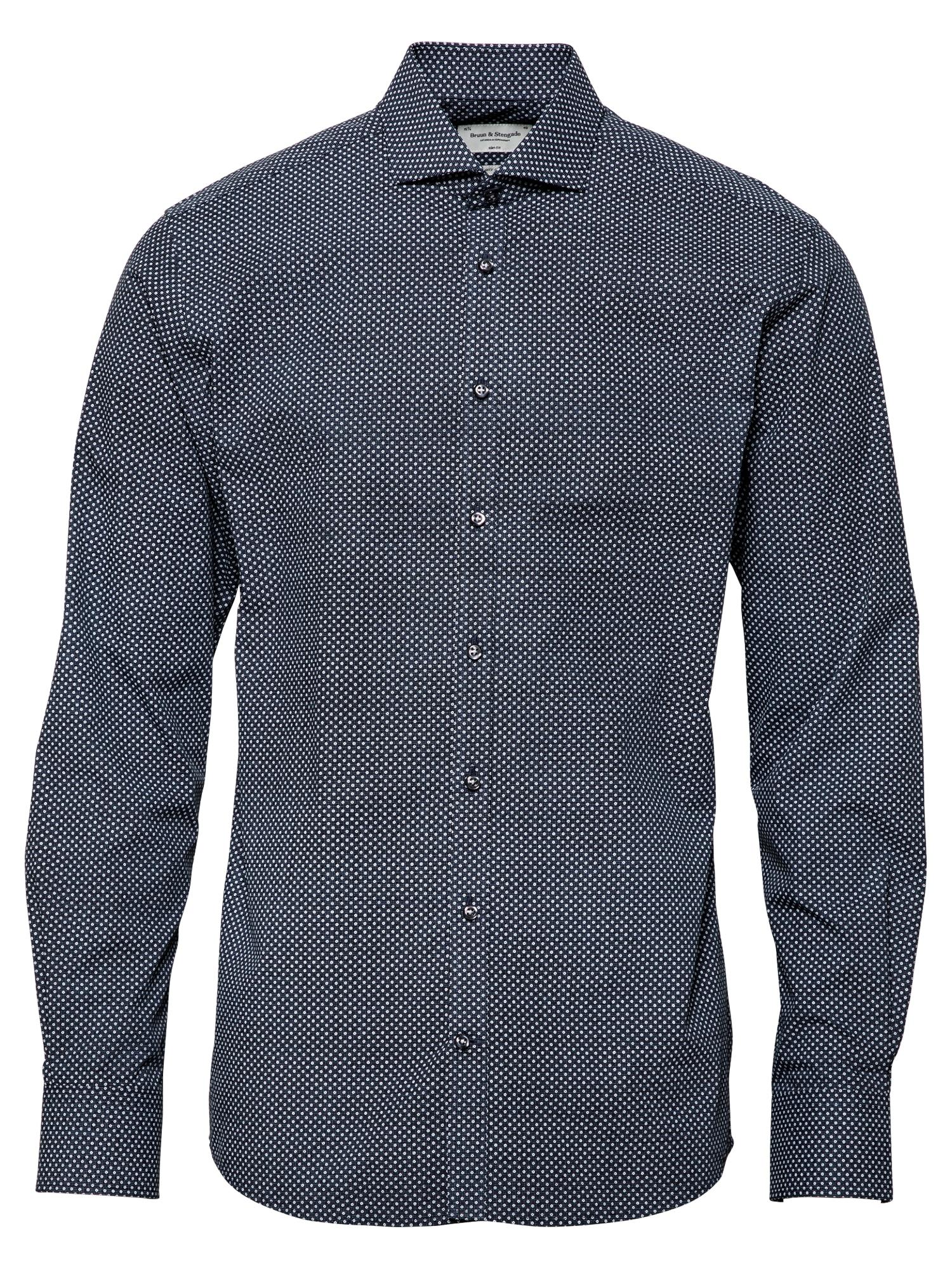 Bruun & Stengade Marškiniai tamsiai mėlyna / balta