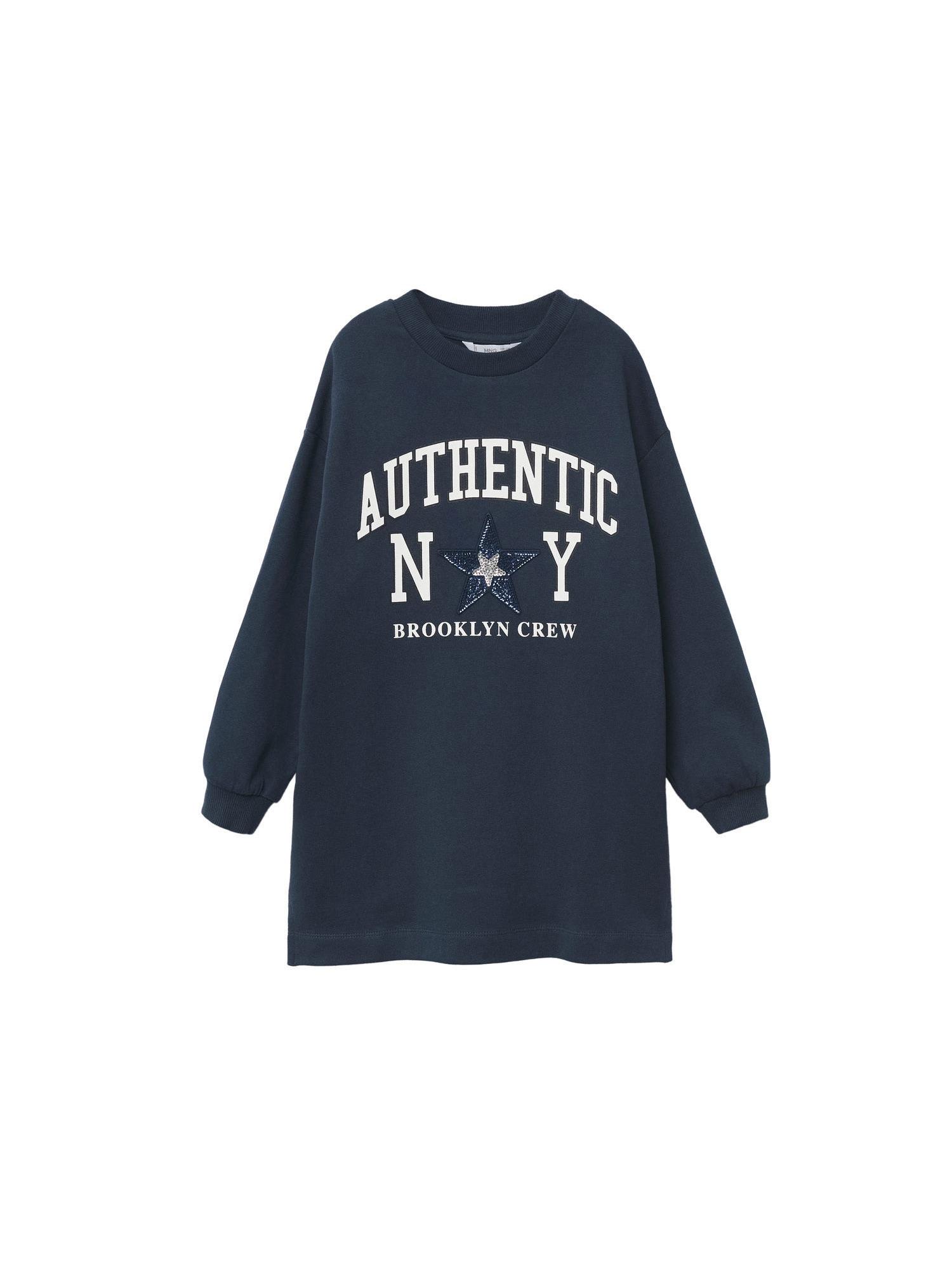 MANGO KIDS Šaty 'New York'  bílá / námořnická modř