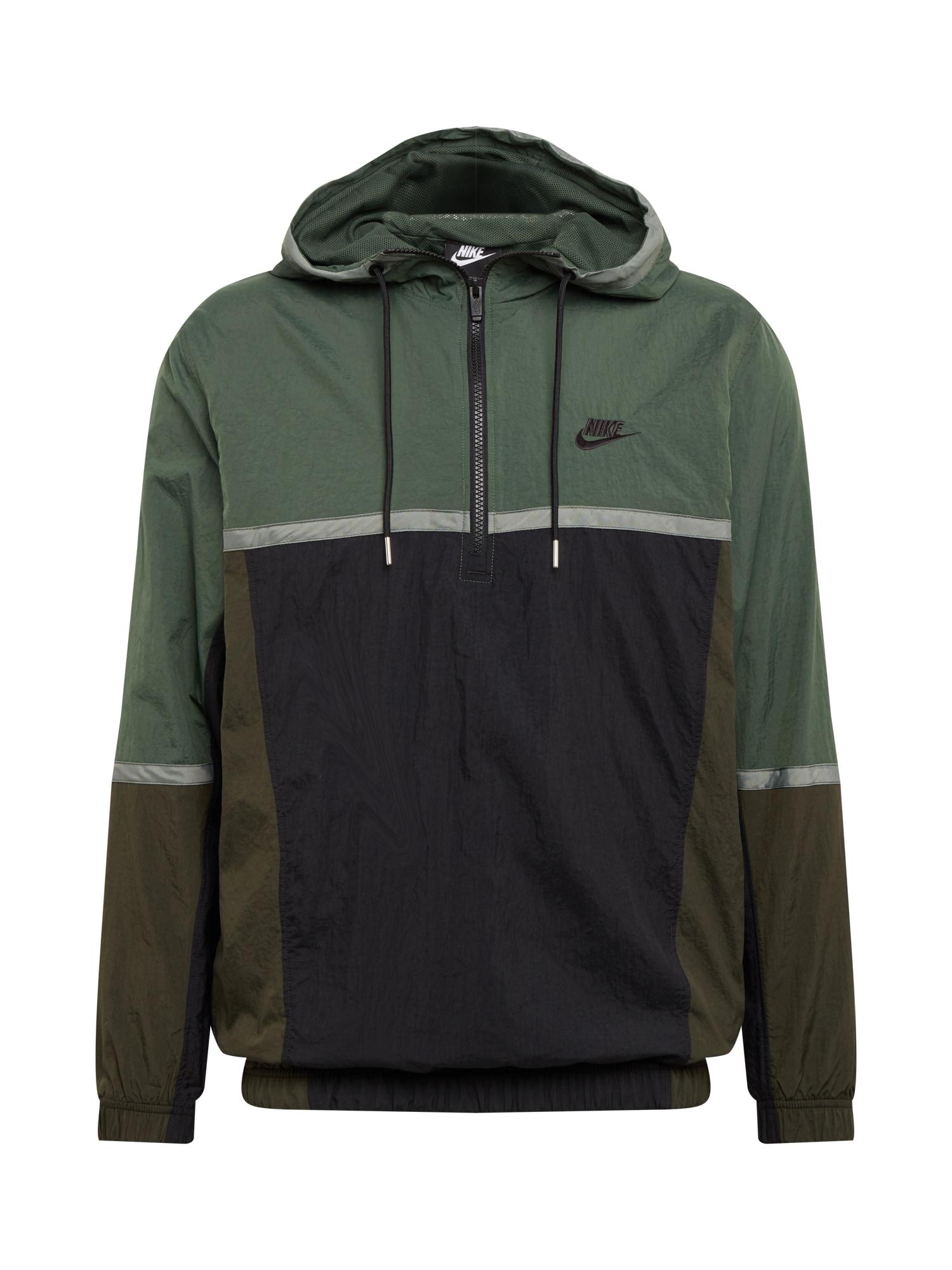 Nike Sportswear Demisezoninė striukė juoda / tamsiai žalia
