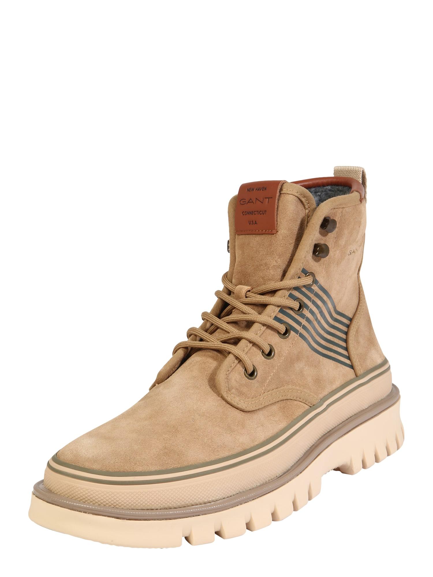 GANT Šněrovací boty 'Nebrada'  béžová / hnědá / tmavě zelená