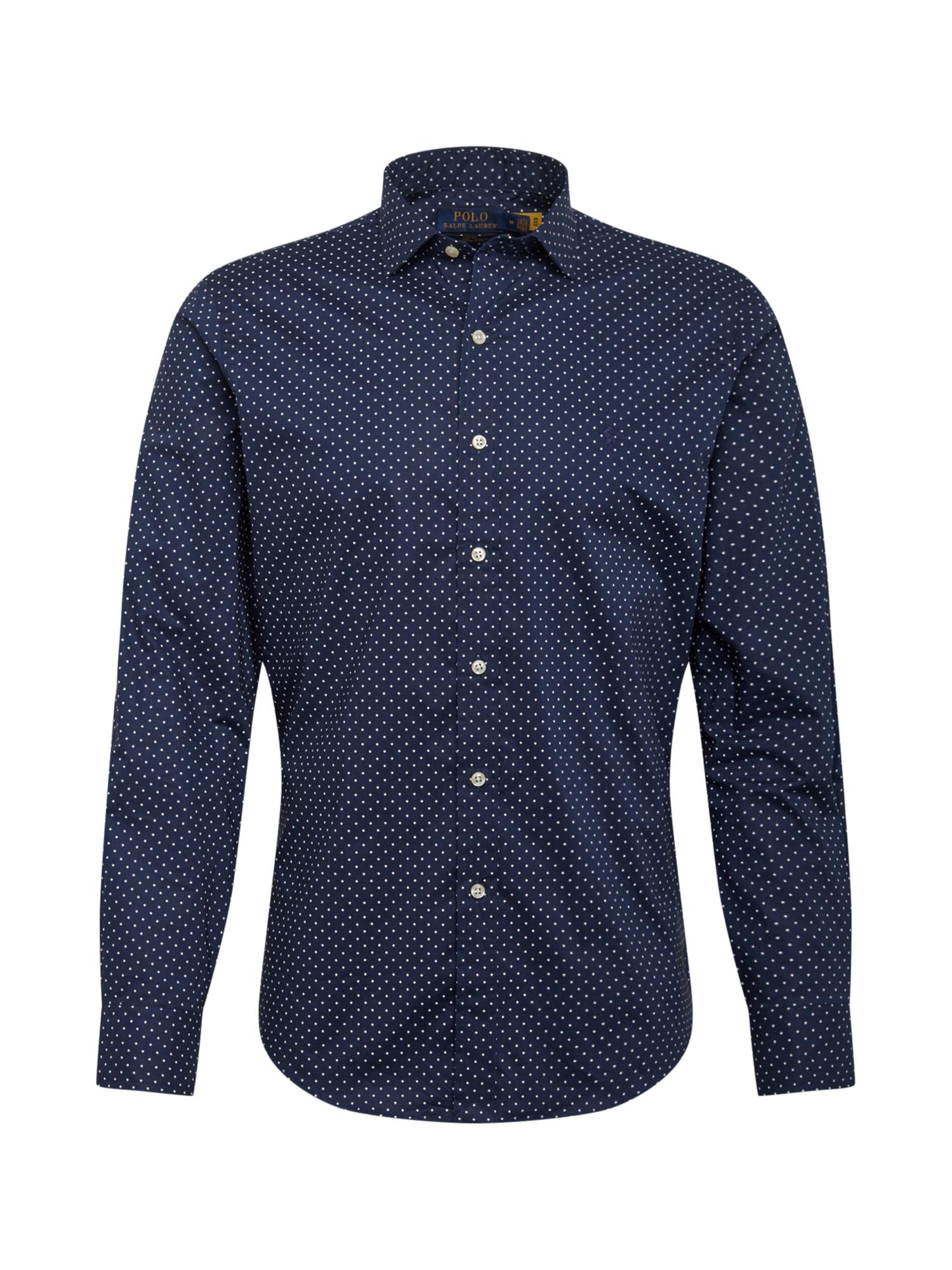 POLO RALPH LAUREN Dalykinio stiliaus marškiniai tamsiai mėlyna / balta