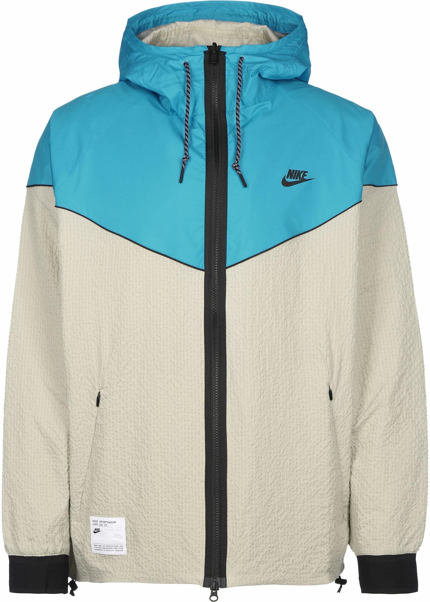 Nike Sportswear Přechodná bunda  světle šedá / tyrkysová / černá