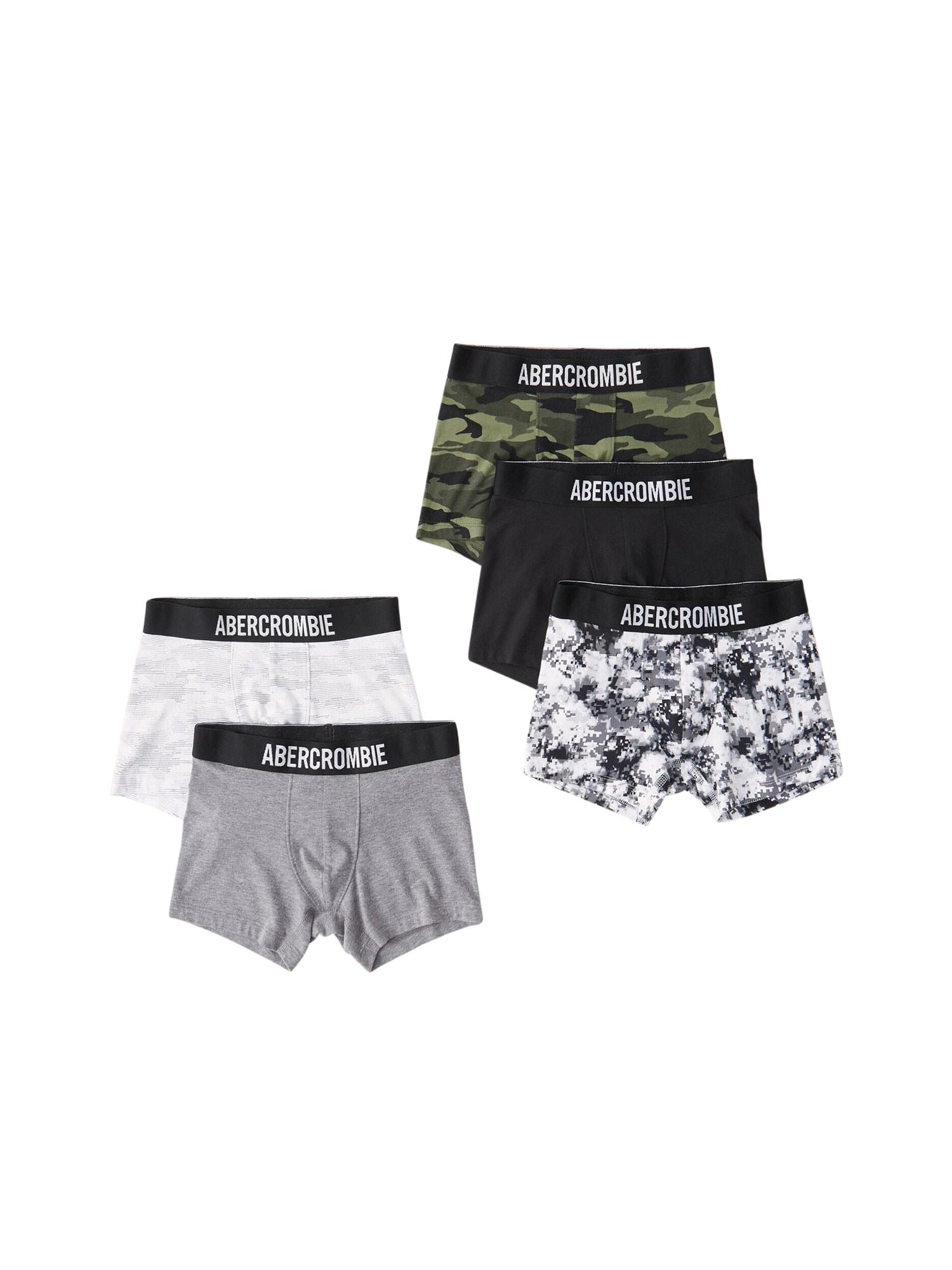 Abercrombie & Fitch Apatinės kelnaitės žalia / juoda / balta / margai pilka / alyvuogių spalva