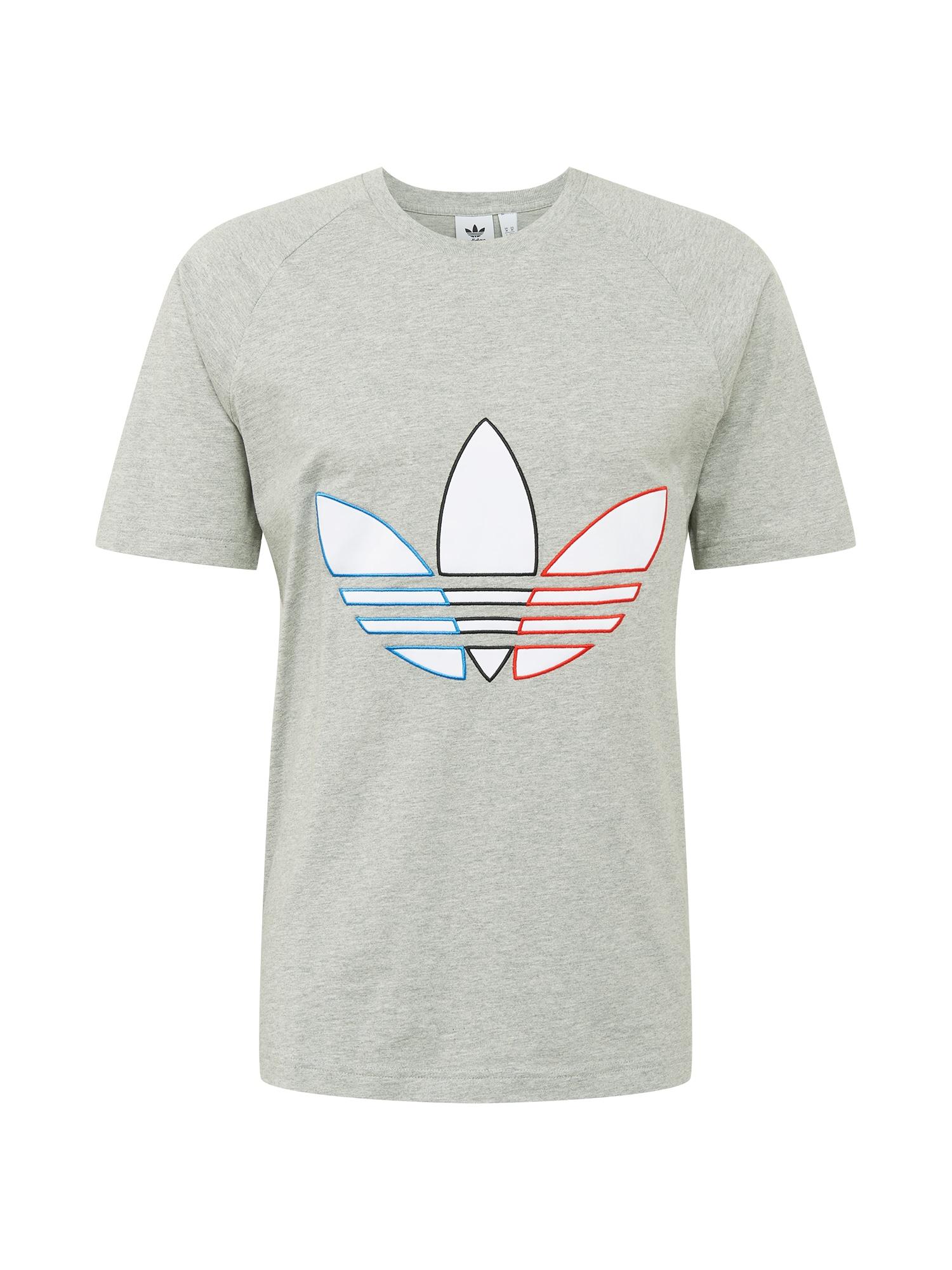 ADIDAS ORIGINALS Marškinėliai pilka / mėlyna / juoda / raudona