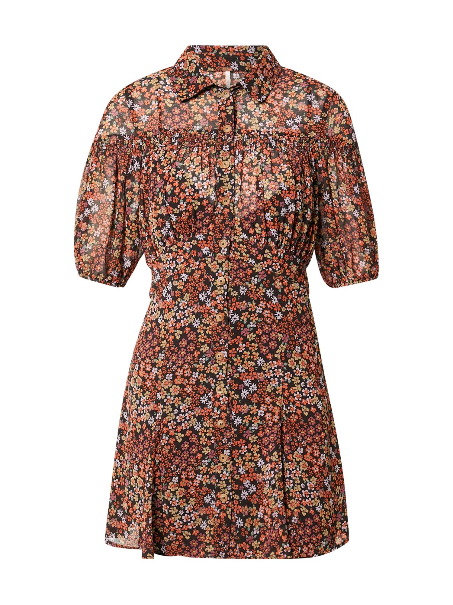 Free People Košilové šaty 'BONNIE'  černá / oranžová / bílá / zelená