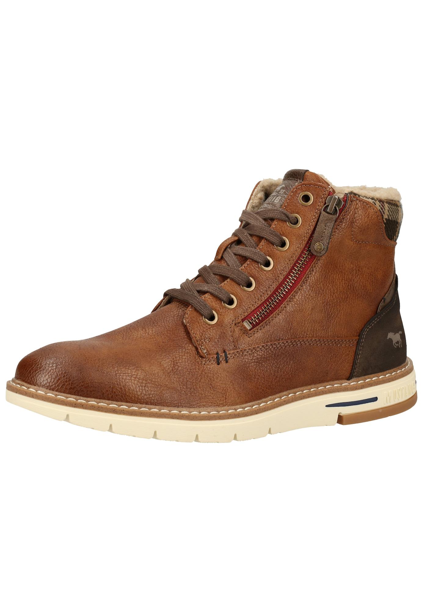 MUSTANG Auliniai batai su raišteliais tamsiai ruda / karamelės / gelsvai pilka spalva