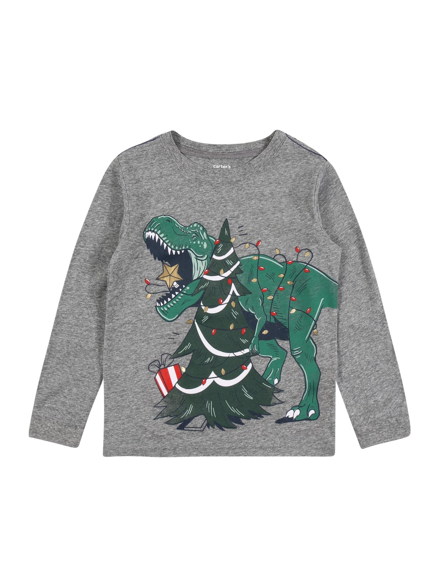 Carter's Marškinėliai 'CHRISTMAS F20' margai pilka / žalia