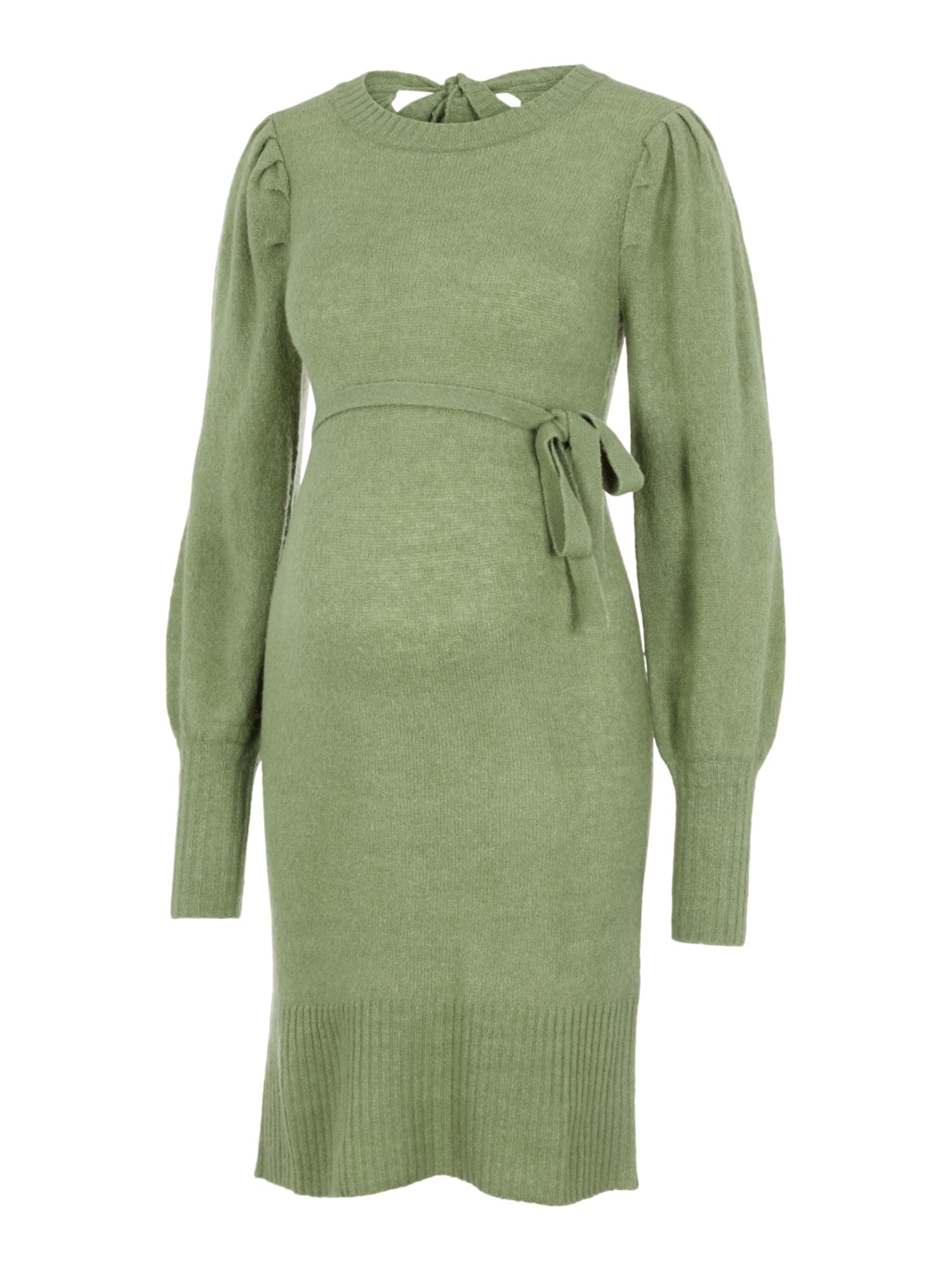 MAMALICIOUS Megzta suknelė 'Neva' žolės žalia