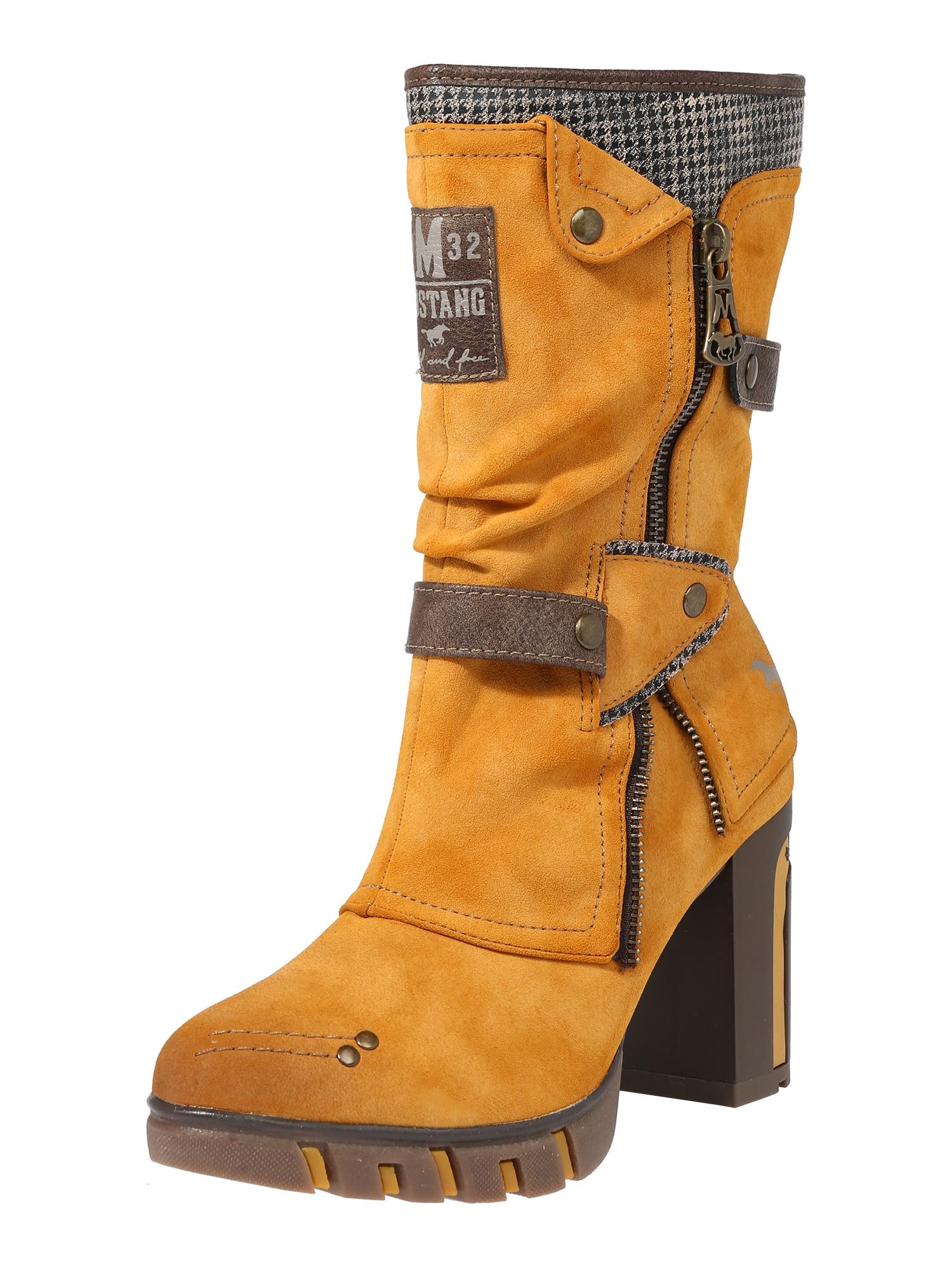 MUSTANG Auliniai batai su kulniuku geltona